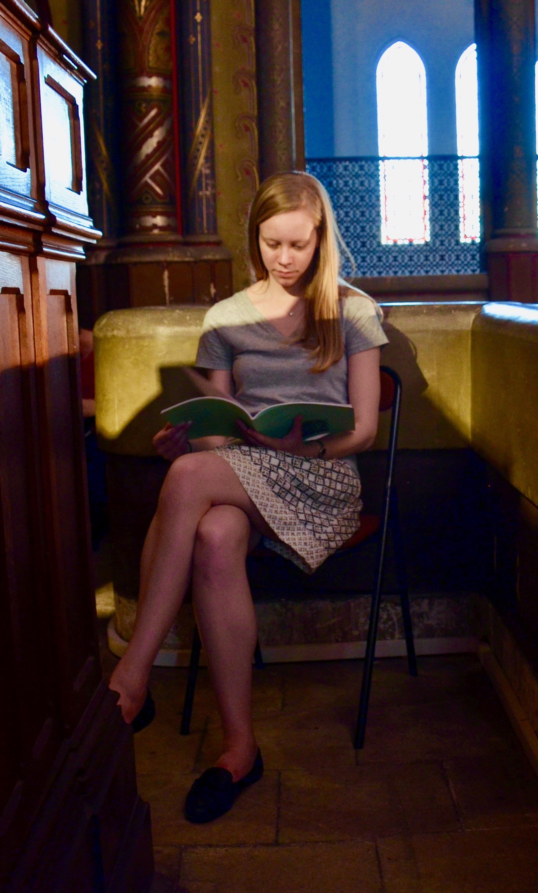 Laura Gullett studies an organ score.