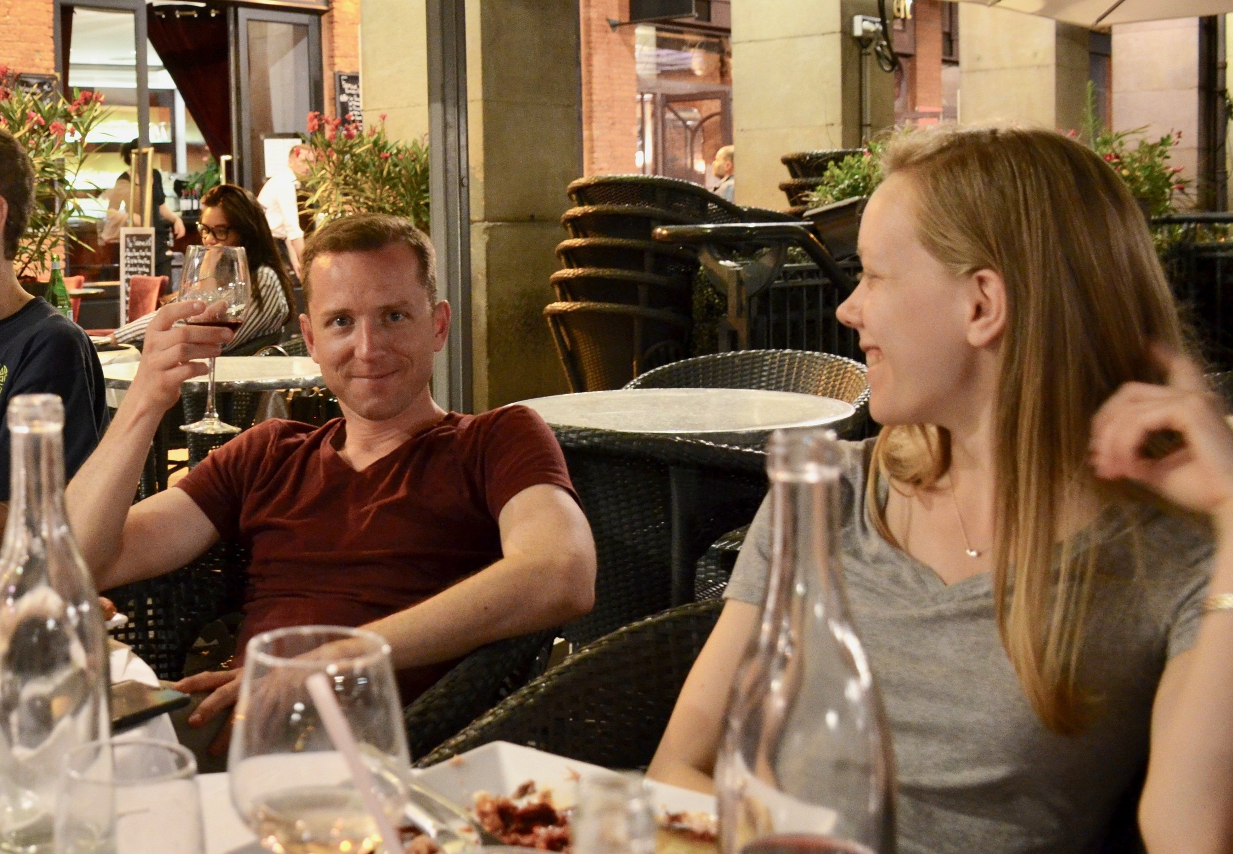 Christian Lane and Laura Gullett enjoying a meal in the square