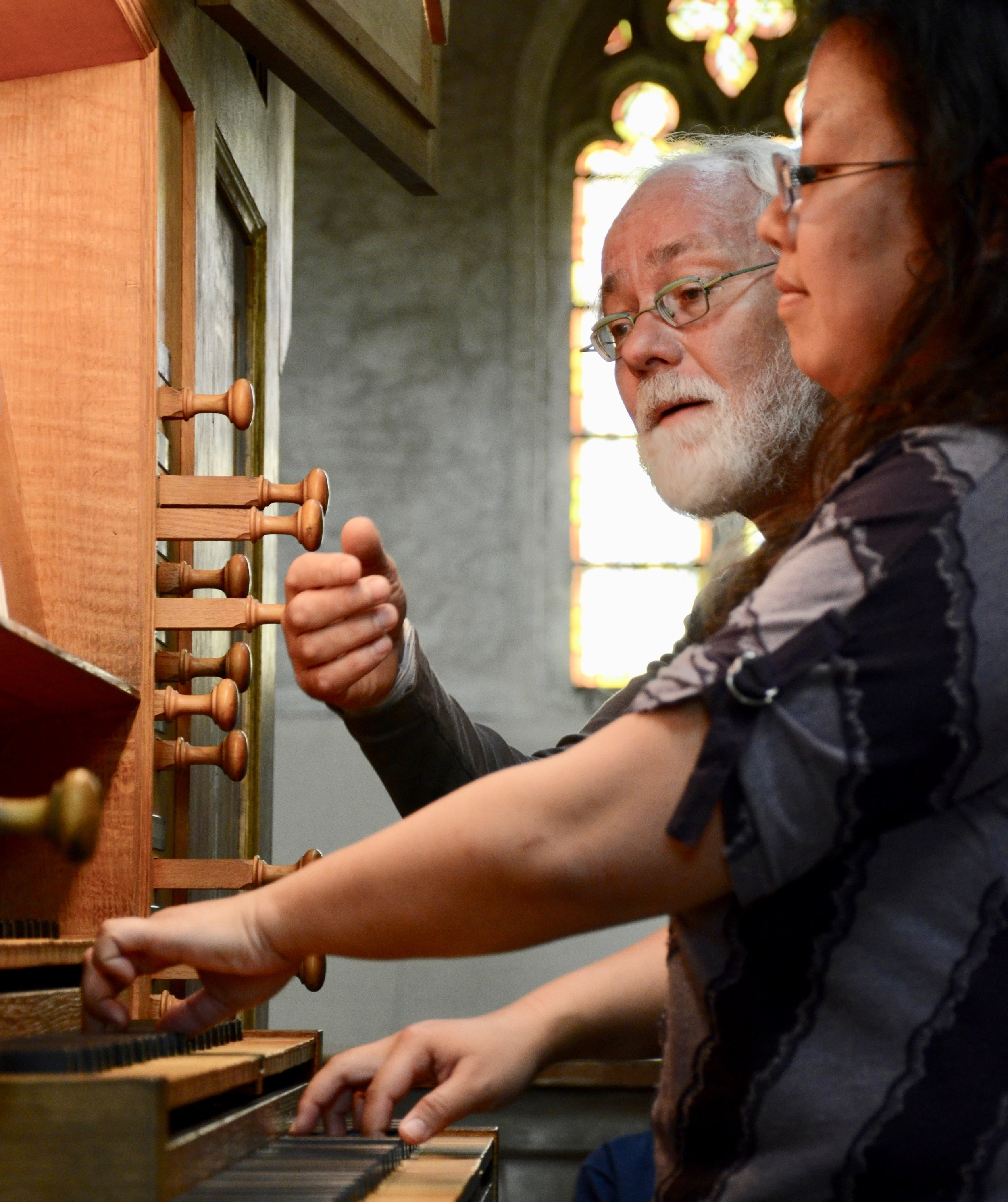 Jan Willem Jansen coaches Jennifer Hsiao on music of Bach in Musee des Augustins in Toulouse. Boston Organ Studio.