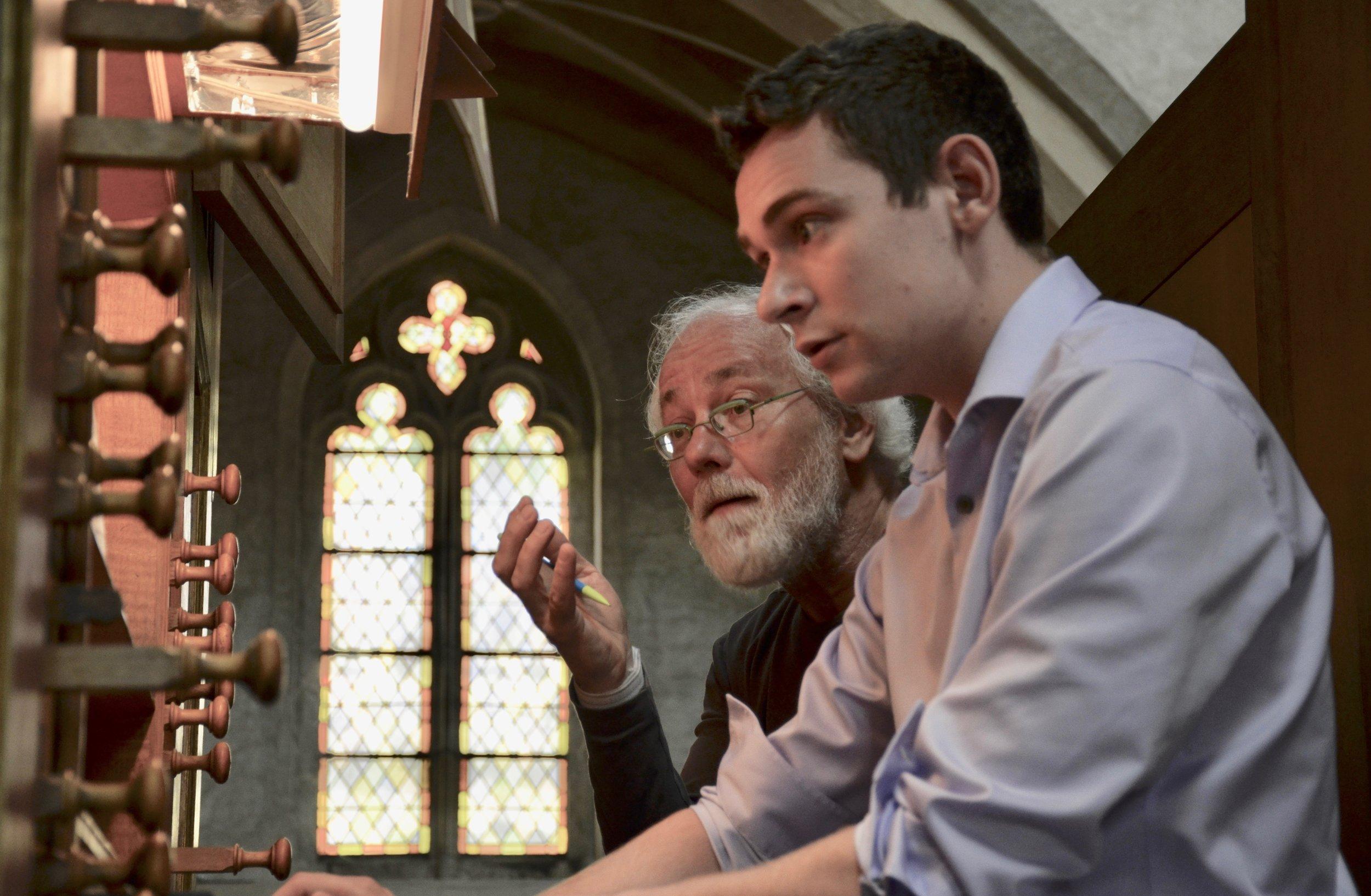 Jan Willem Jansen coaches David von Behren on music of Bach. Boston Organ Studio.
