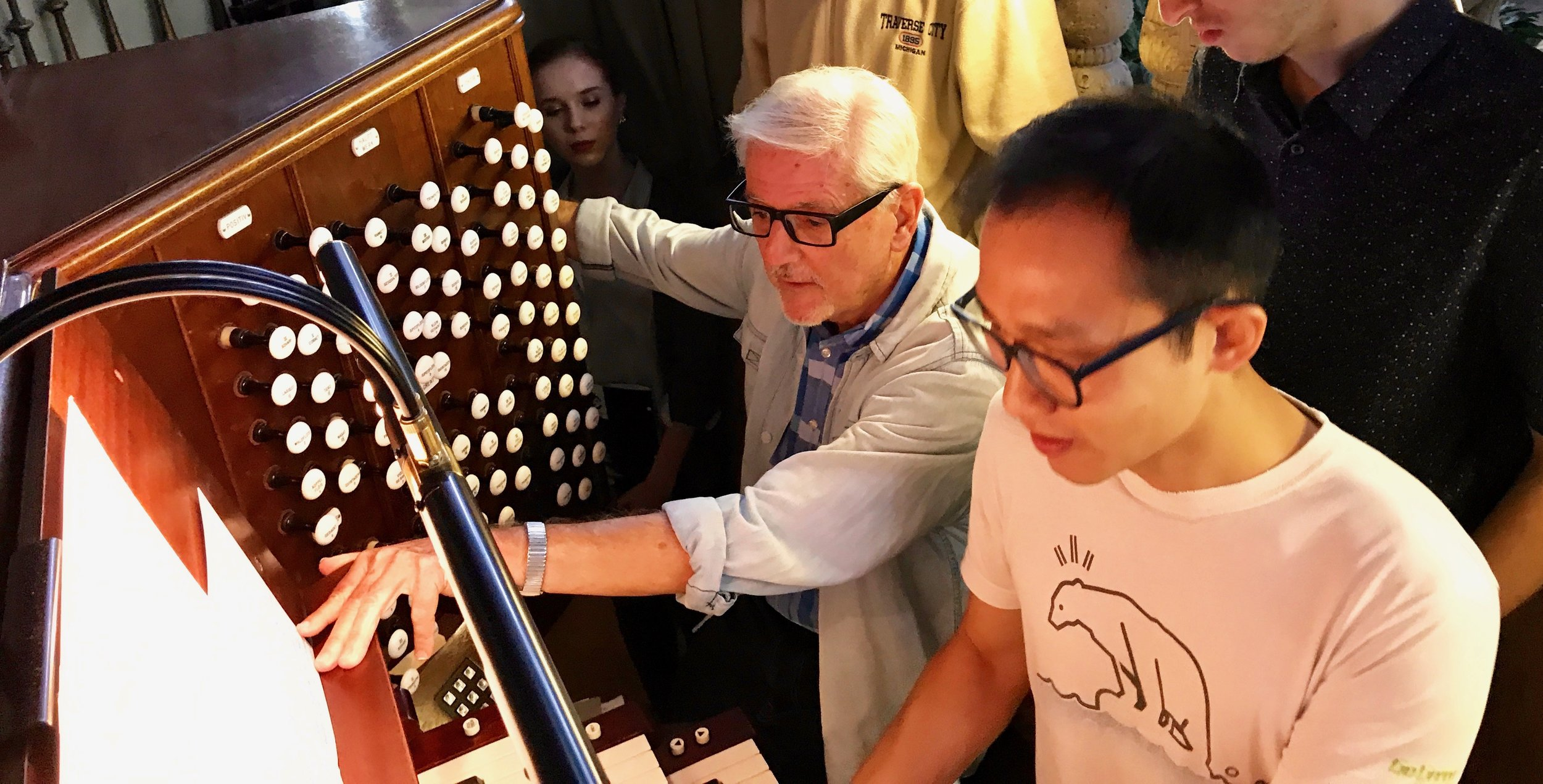 Stephen Loher assists Dennis Chan at The Mother Church. Boston Organ Studio.