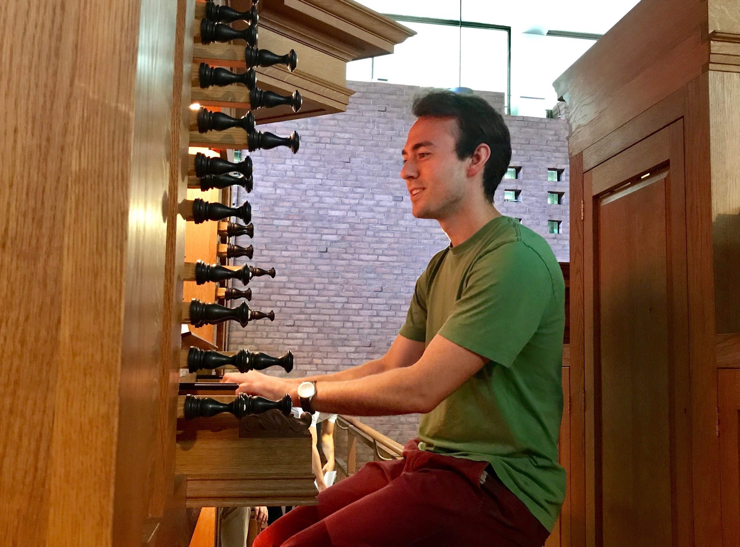 Organist Kade Phillips plays at First Lutheran Church.