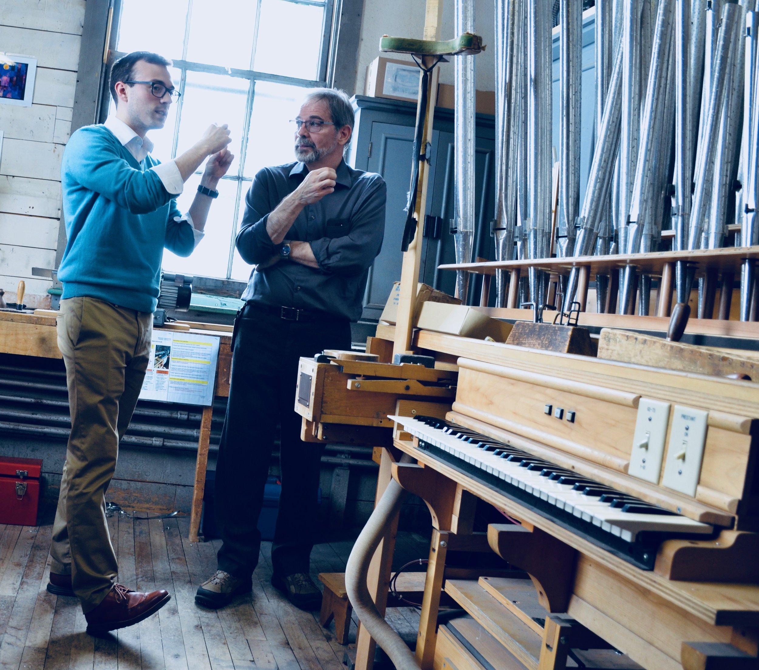 Kade Phillips and Denis Blain.Boston Organ Studio tour of the Casavant Pipe Organ Shop, St-Hyacinthe, Quebec