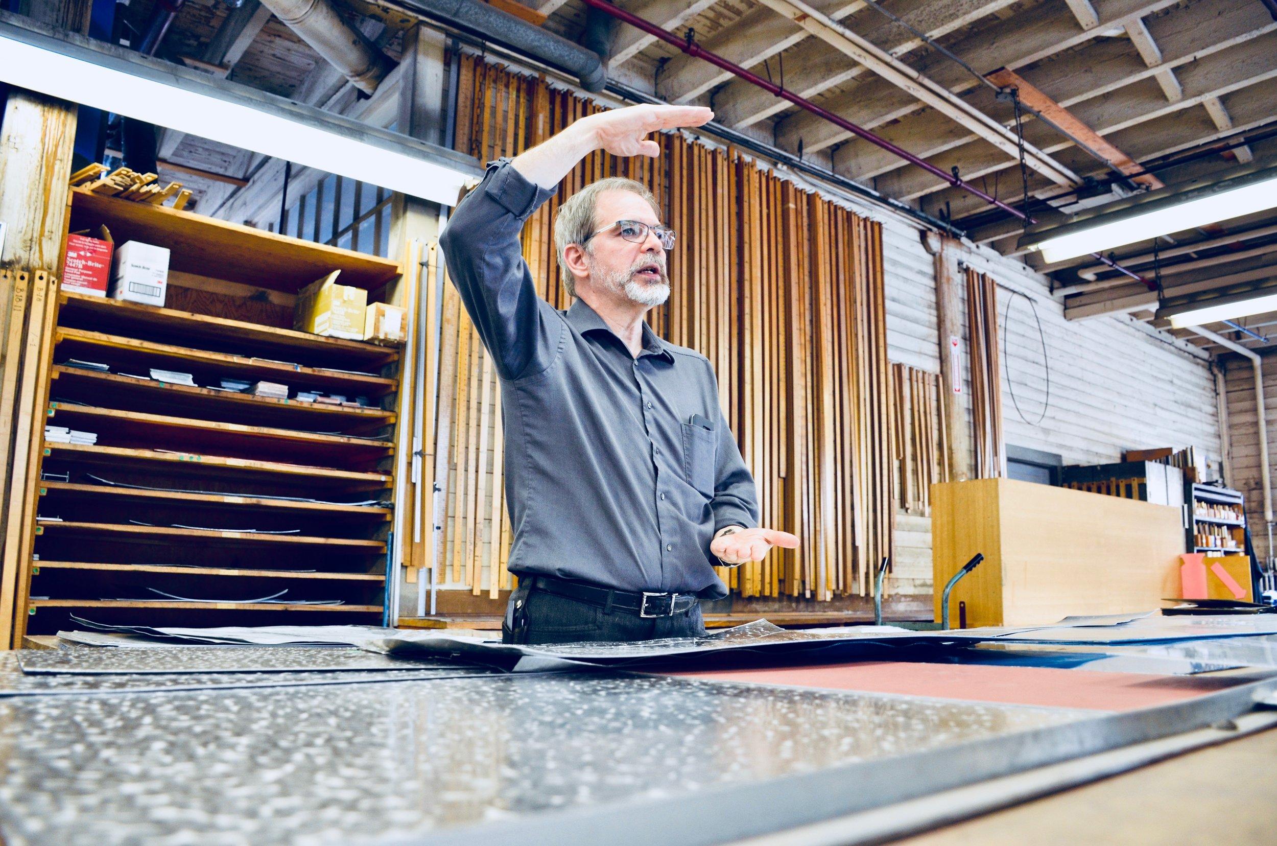 Denis Blain, Technical Director, Casavant.Boston Organ Studio tour of the Casavant Pipe Organ Shop, St-Hyacinthe, Quebec