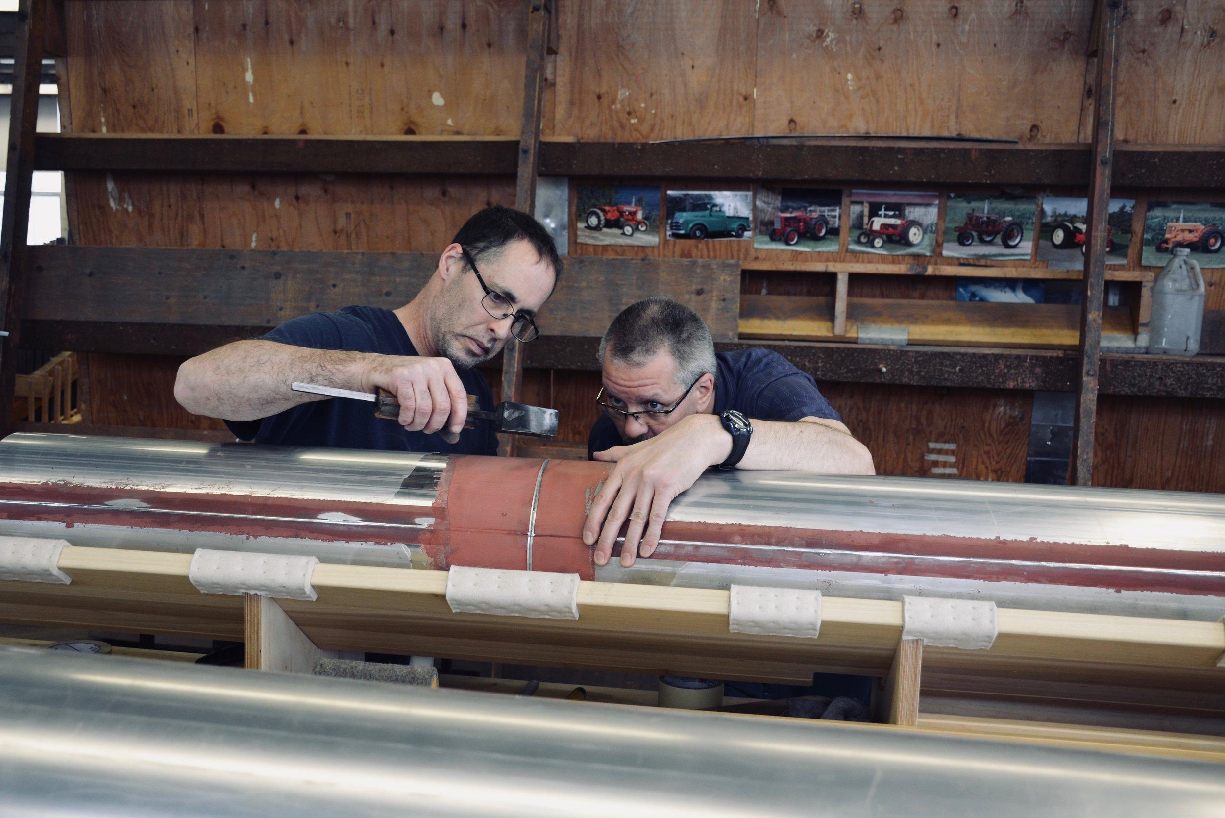 Pipe welding.Boston Organ Studio tour of the Casavant Pipe Organ Shop, St-Hyacinthe, Quebec
