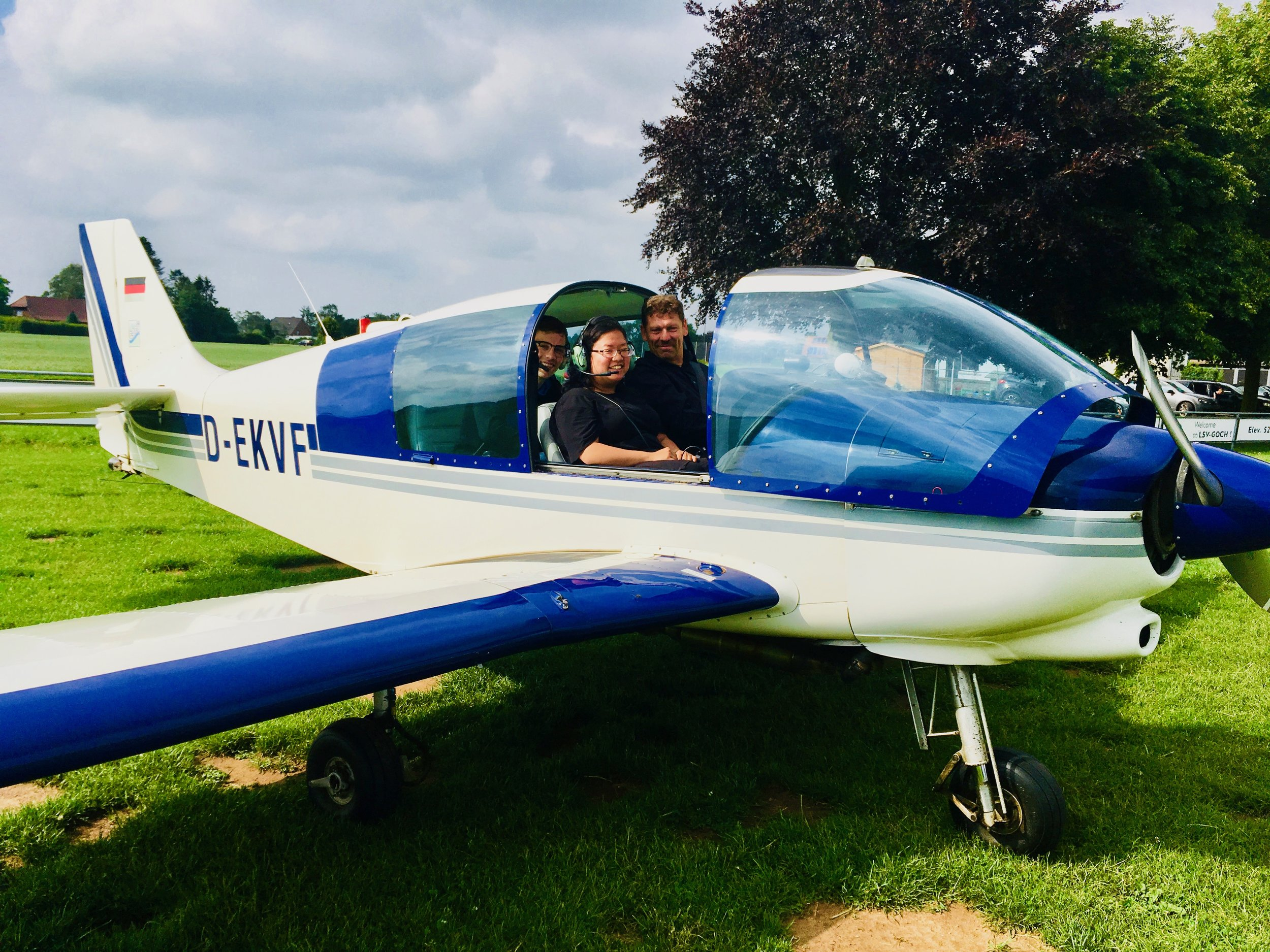 Boston Organ Studio member Jennifer Hsiao, enroute to meet the group in Amsterdam, is all smiles as she explores the German countryside from above!
