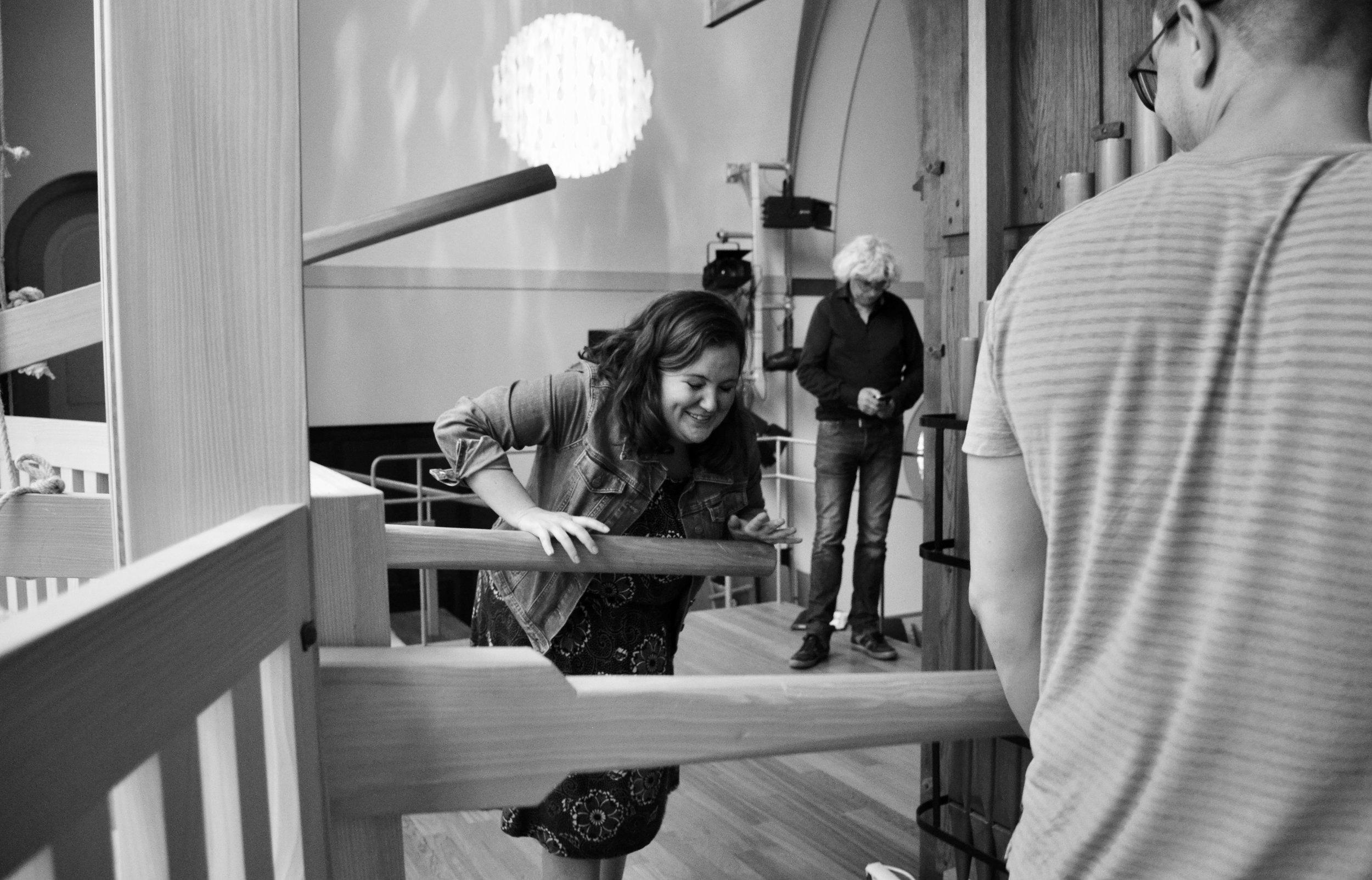 Chelsea Keating pumping the Van Staten organ in Orgelpark, Amsterdam. Boston Organ Studio.