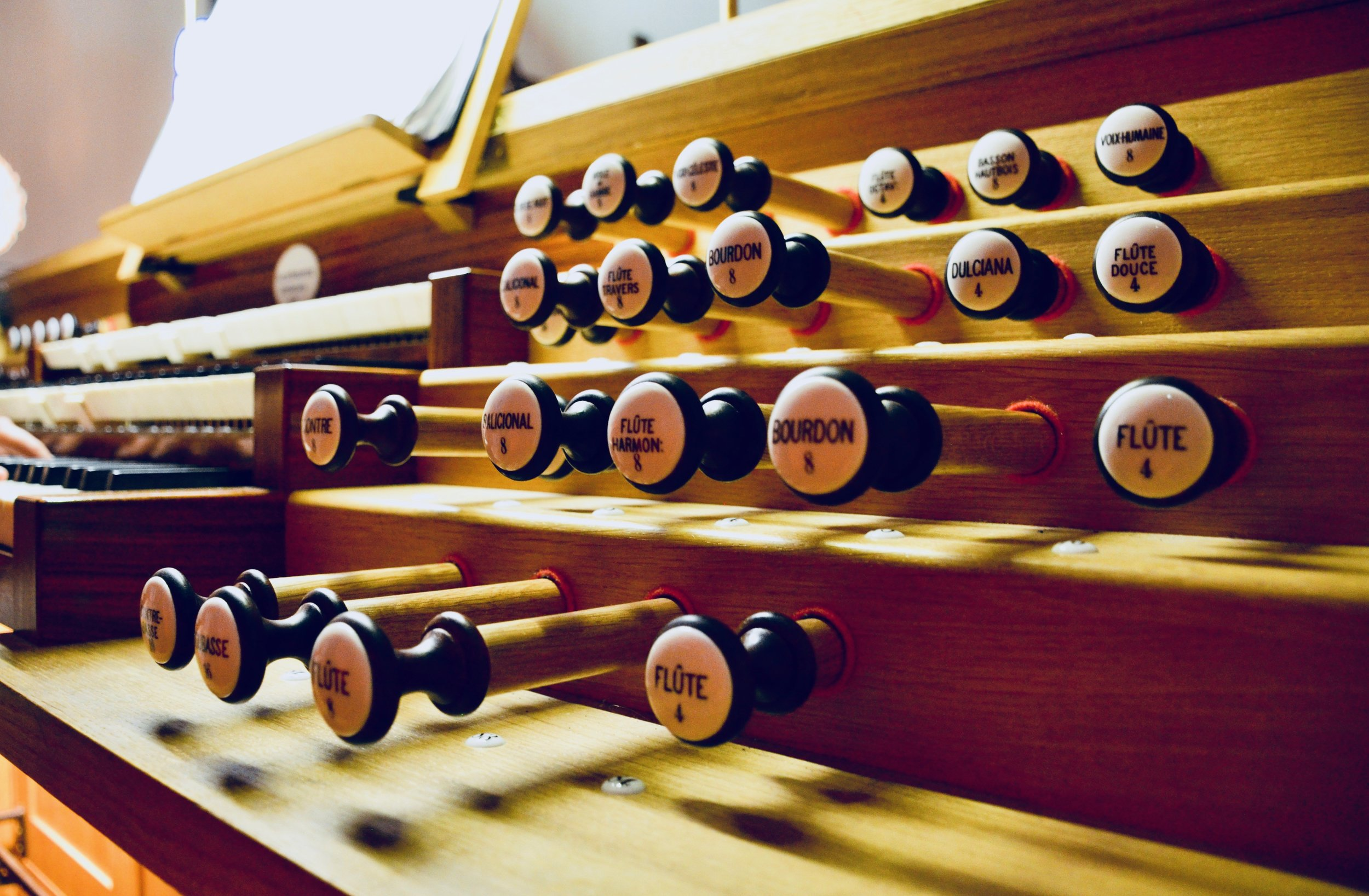 Console detail of the Verschueren French-romantic organ in Orgelpark, Amsterdam.