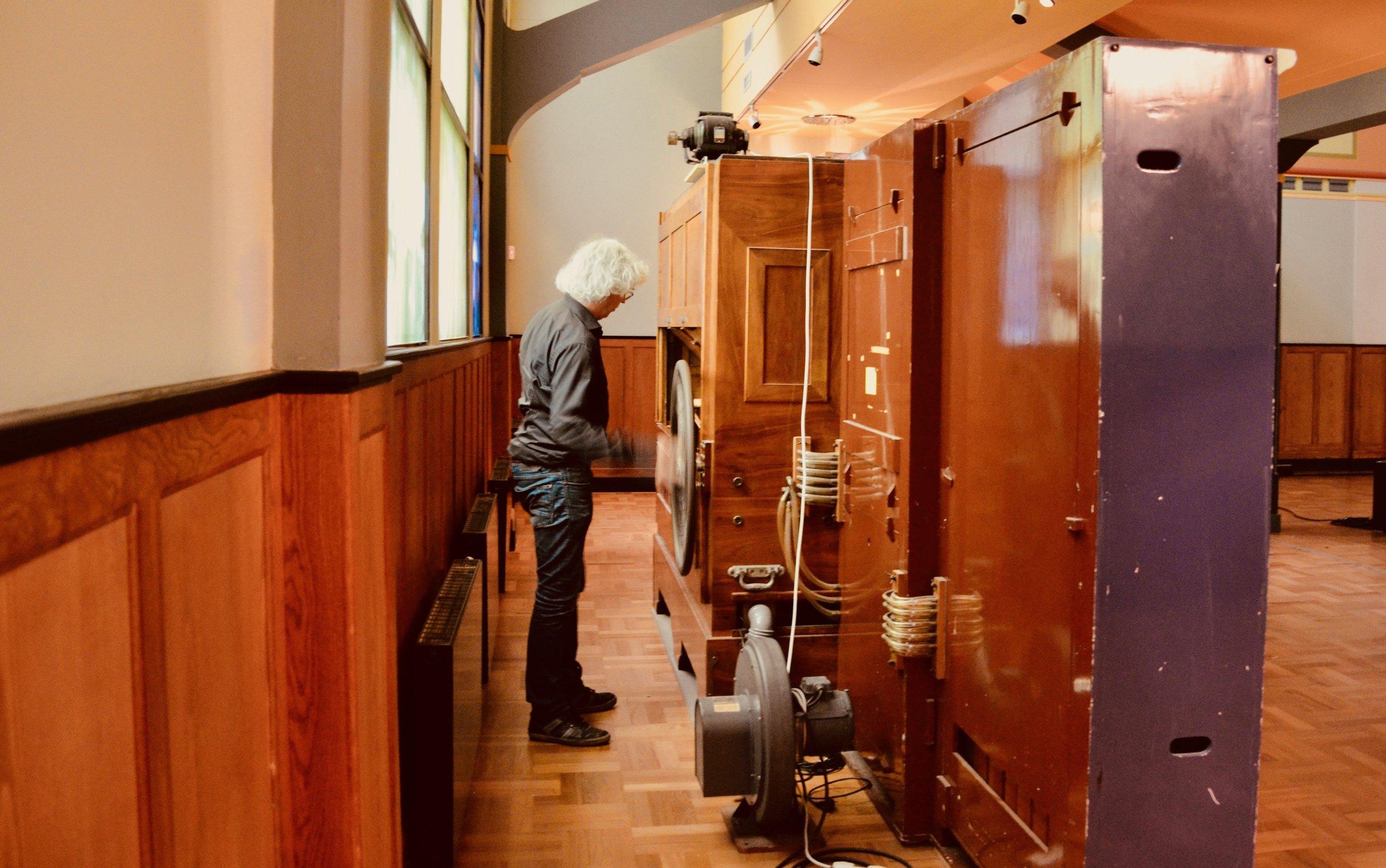 Hans Fidom operates the mechanical organ at Orgelpark, Amsterdam.