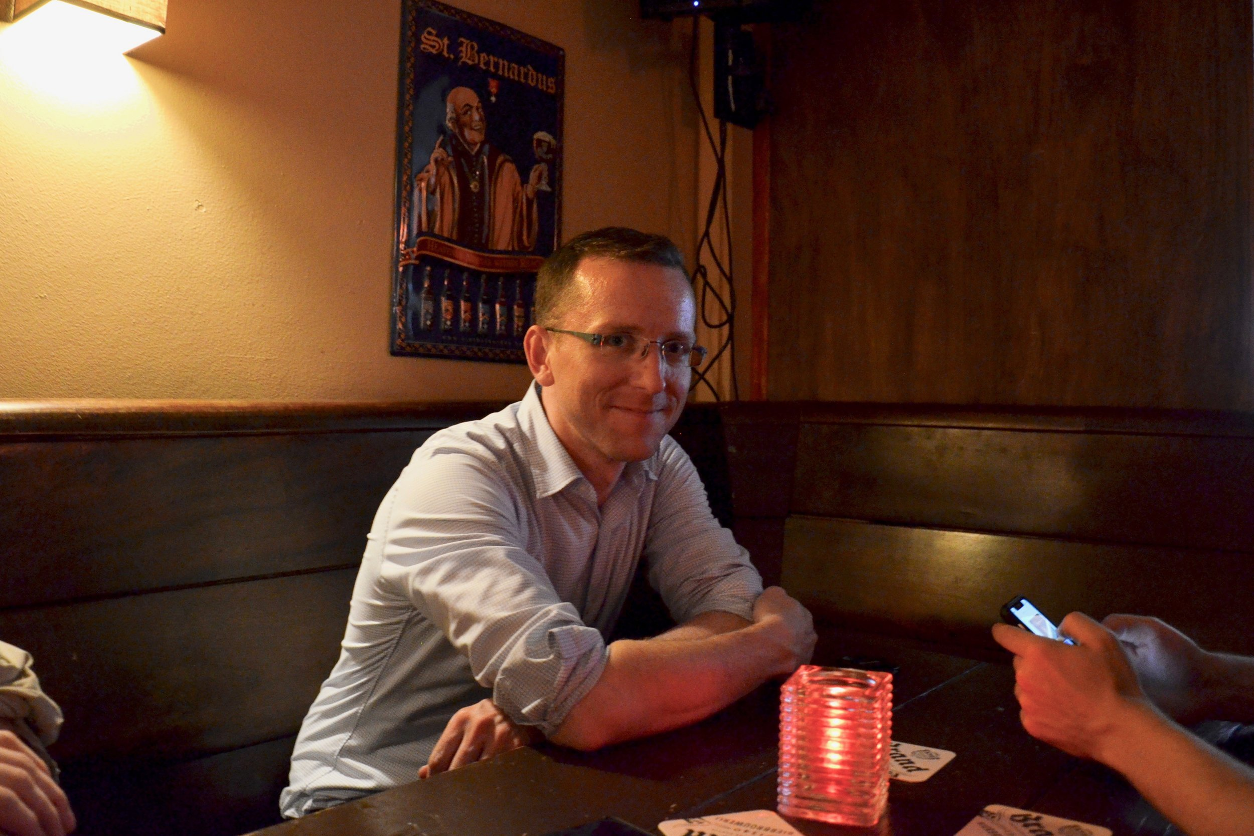Christian Lane at dinner in Amsterdam.