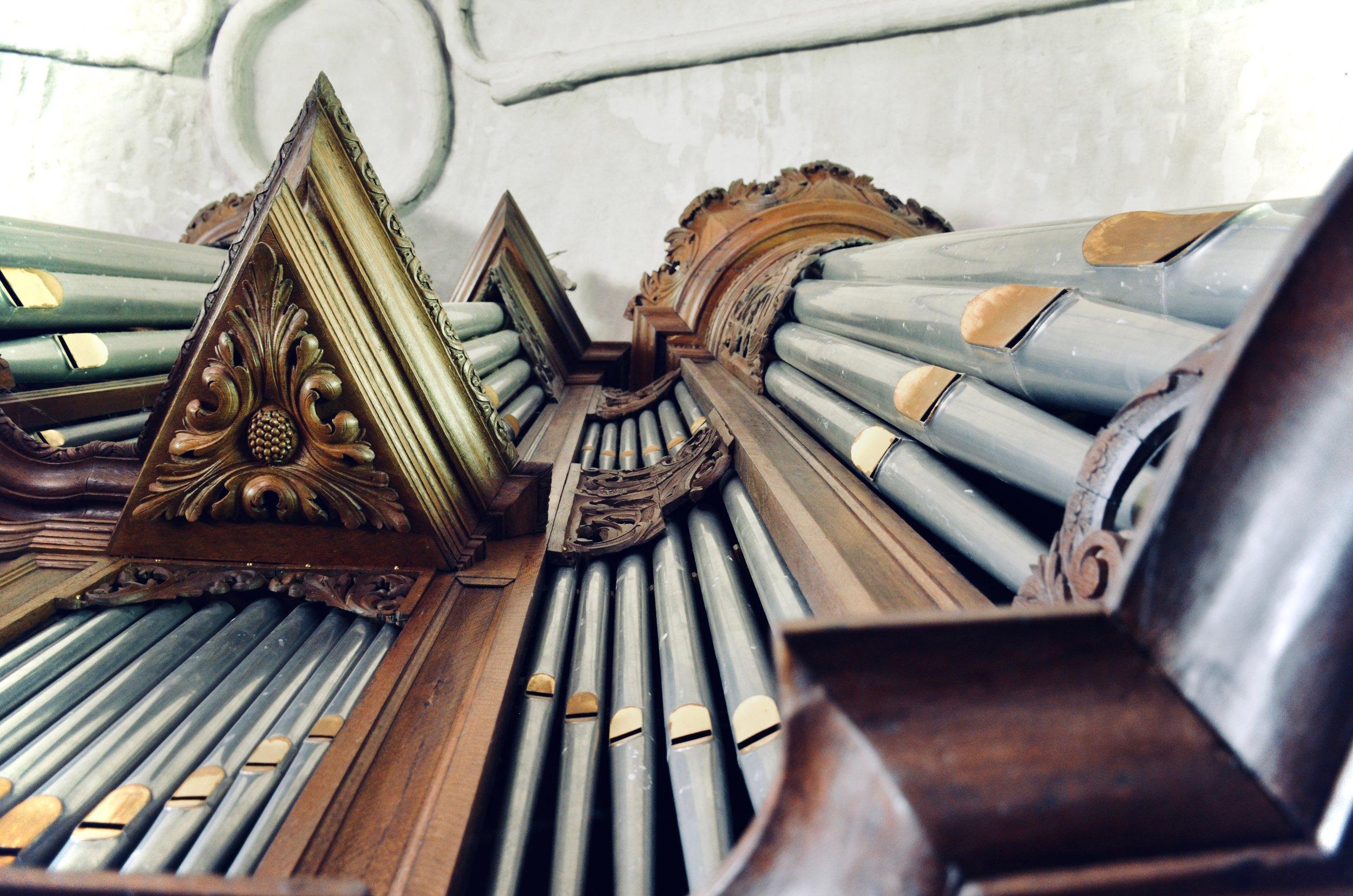Façade detail, Hinsz organ, Leens, Holland.