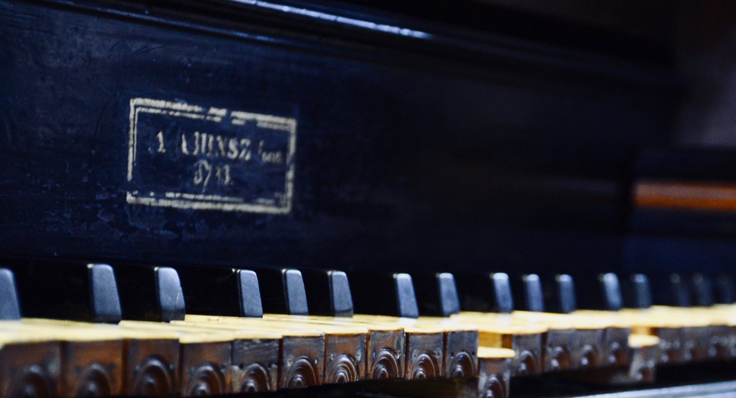 Keydesk detail, 1733 Hinsz organ, Leens, Holland.