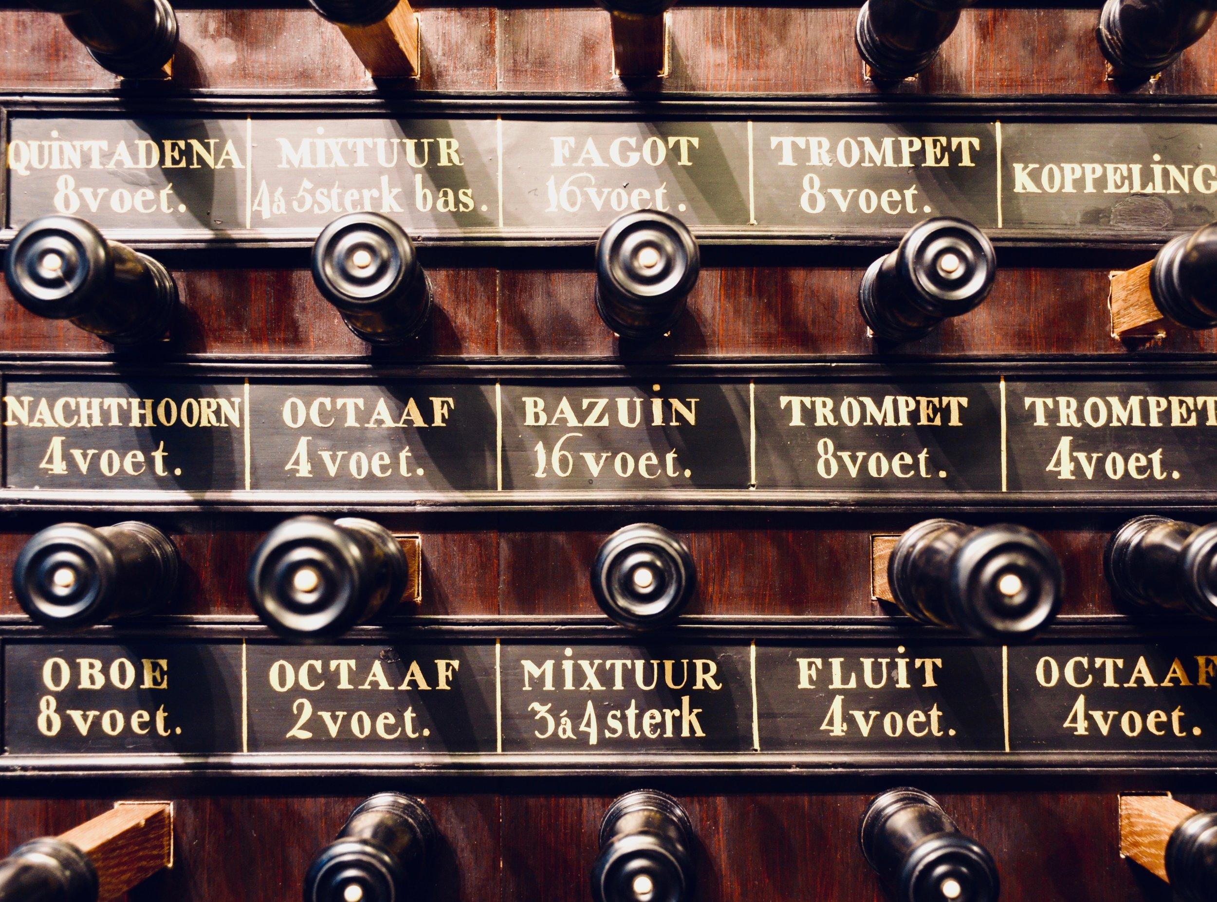 Console detail, 1831 organ, Nieuwe Kerk, Groningen.
