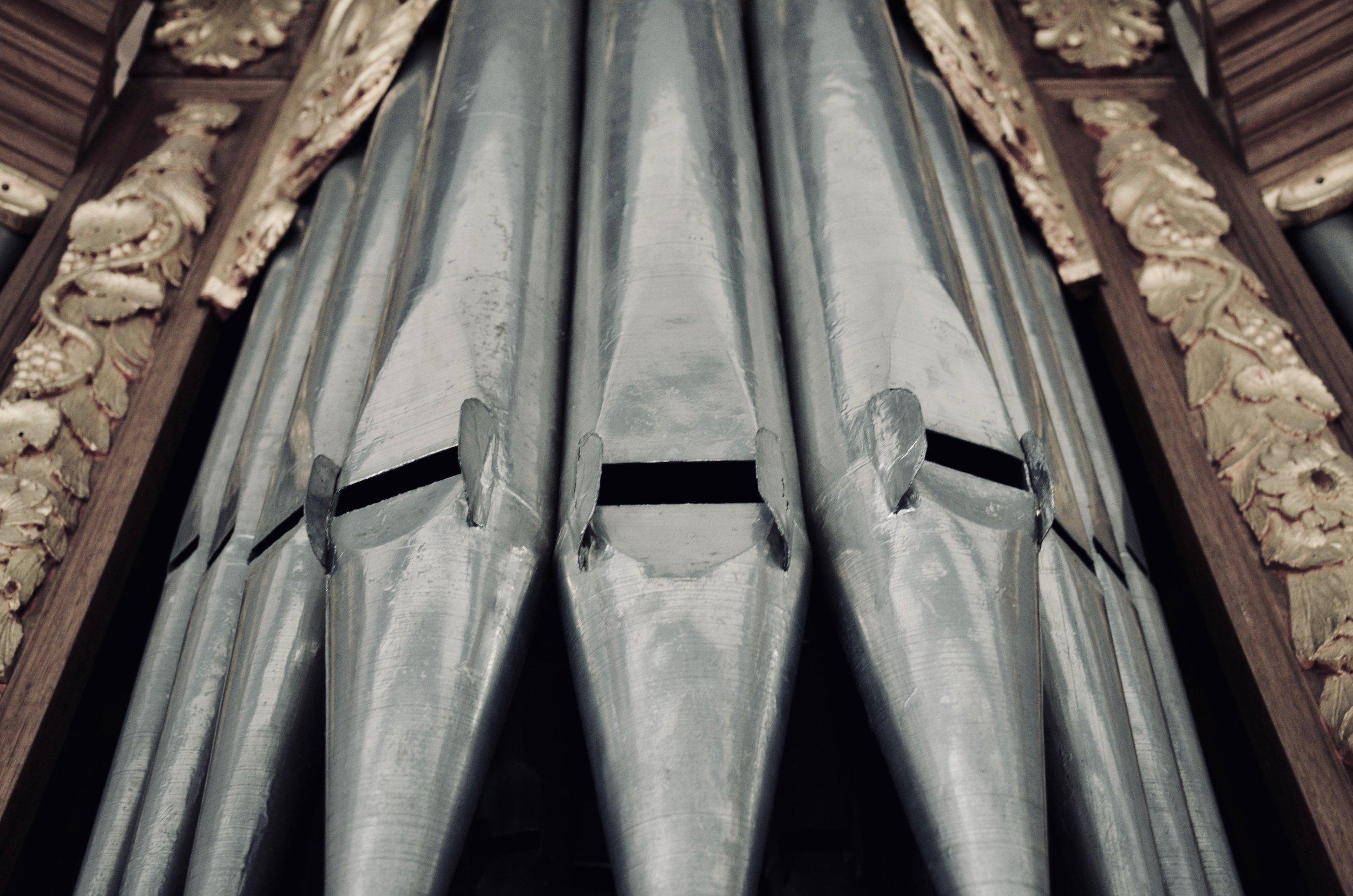 Pipework detail, 1667 pipe organ in Kantens, Holland.