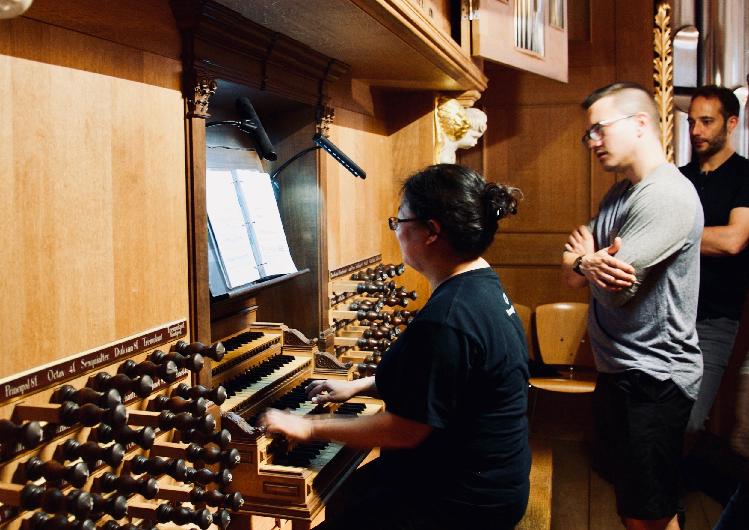 Jennifer Hsiao plays the 1693 Schnitger organ in St. Jacobi, Hamburg, with resident organist Gerhard Löffler looking on.
