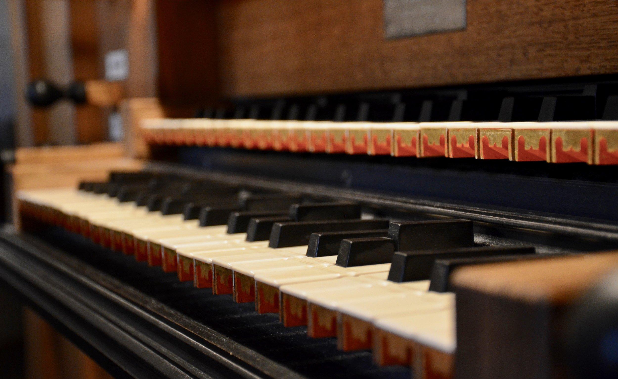 Keydesk detail, with sub-semitones, 1992 Brombaugh organ, Haga Church, Göteborg, Sweden.