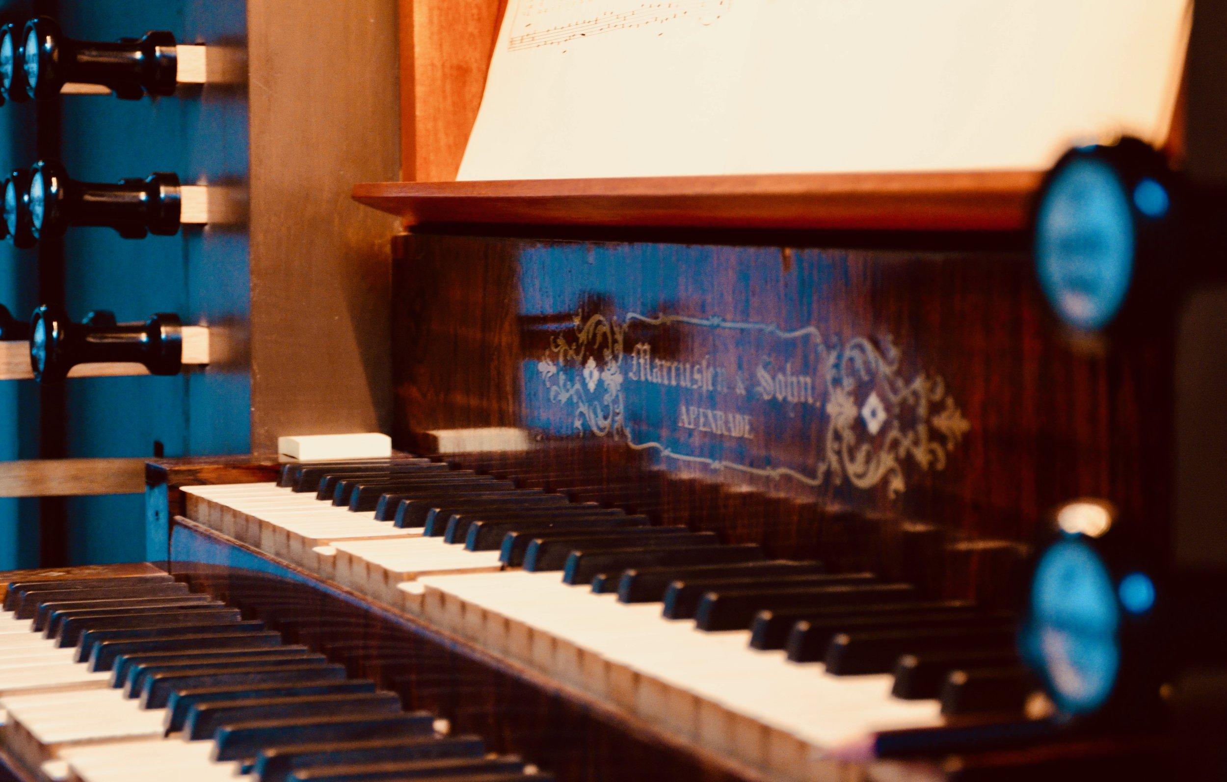 Console detail, 1861 Marcussen & Søn organ in Haga Church, Göteborg, Sweden.