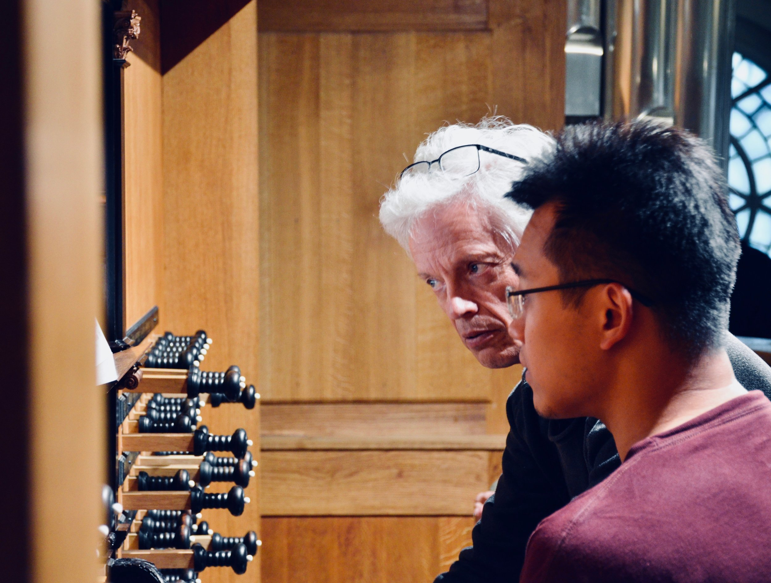 Hans Davidsson coaches Adrian Cho at the 2000 GoART North German Baroque Research Organ in Örgryte New Church, Göteborg, Sweden.