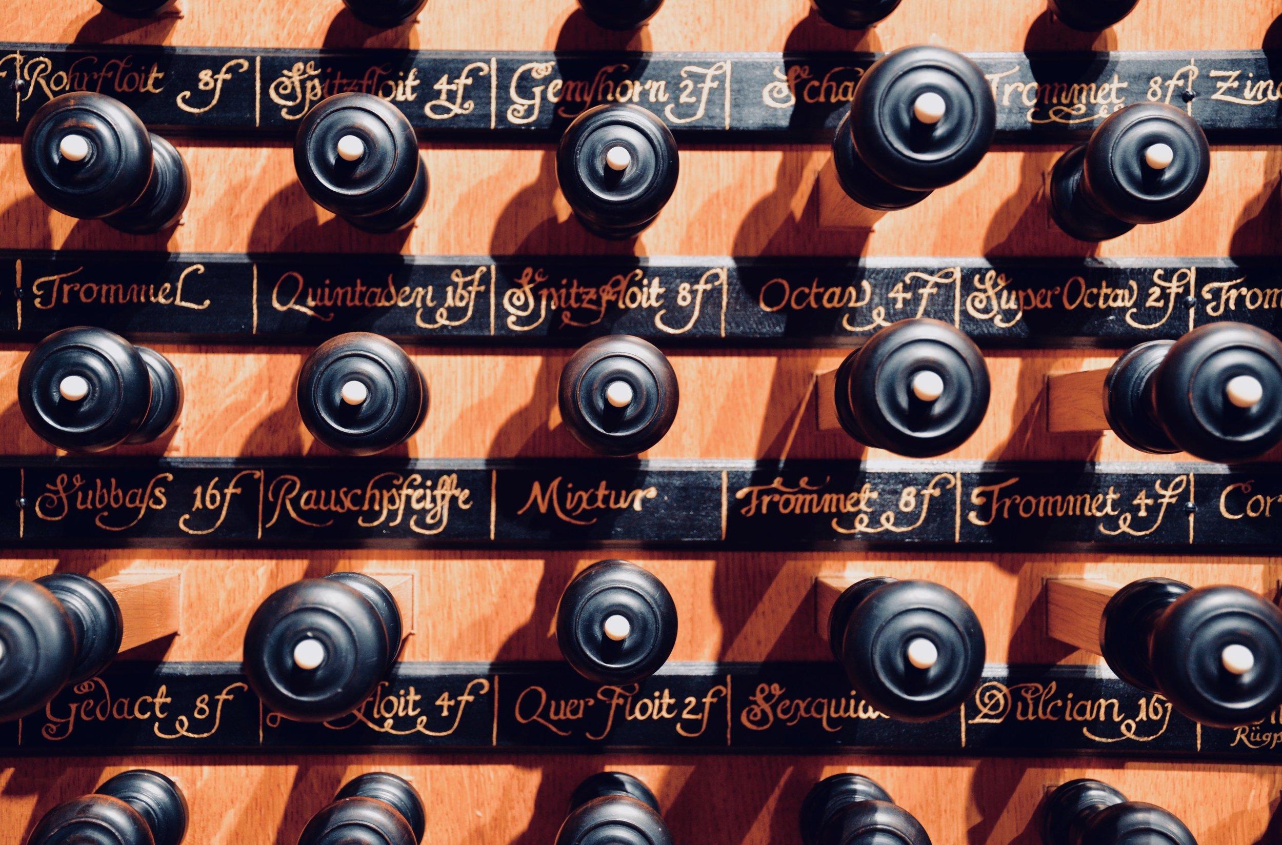 Stopknob detail, 2000 GoART North German Baroque Research Organ in Örgryte New Church, Göteborg, Sweden.