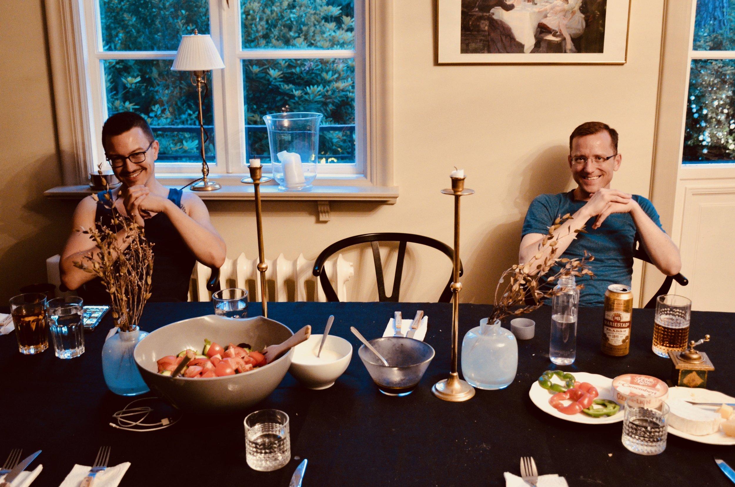 Corey De Tar and Christian Lane await dinner.