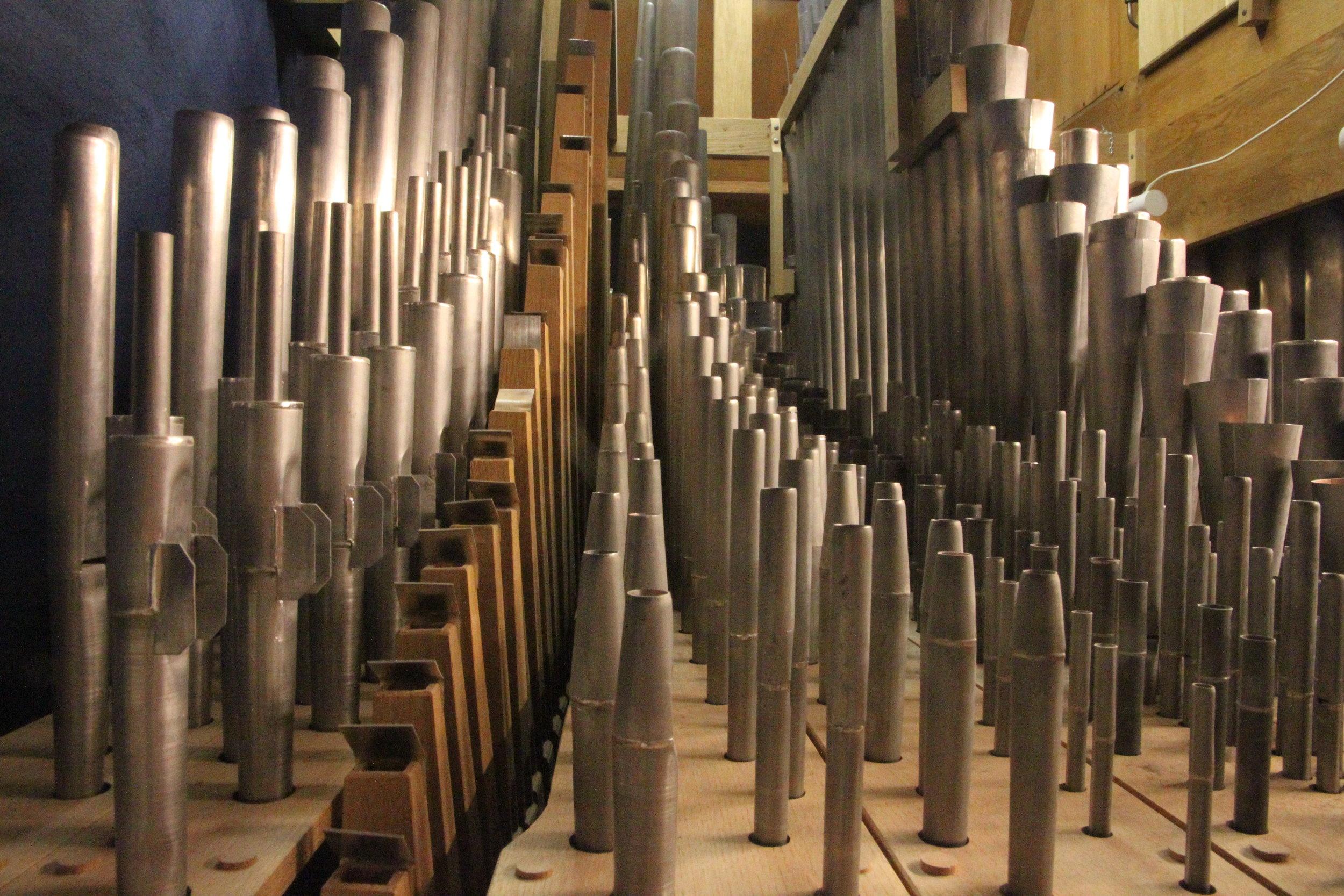 Pipework detail, 2000 GoART North German Baroque Research Organ in Örgryte New Church, Göteborg, Sweden.