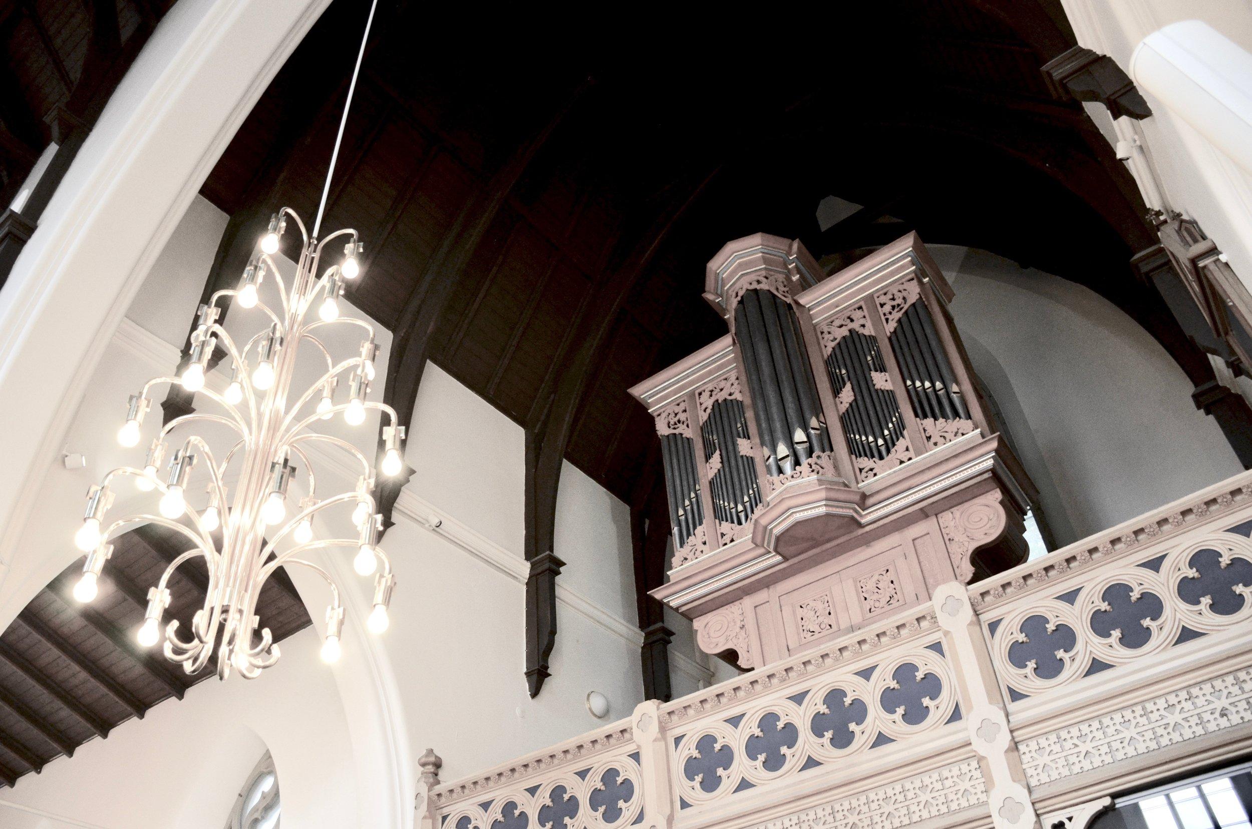 The 1992 Brombaugh organ in Haga Church, Göteborg, Sweden.