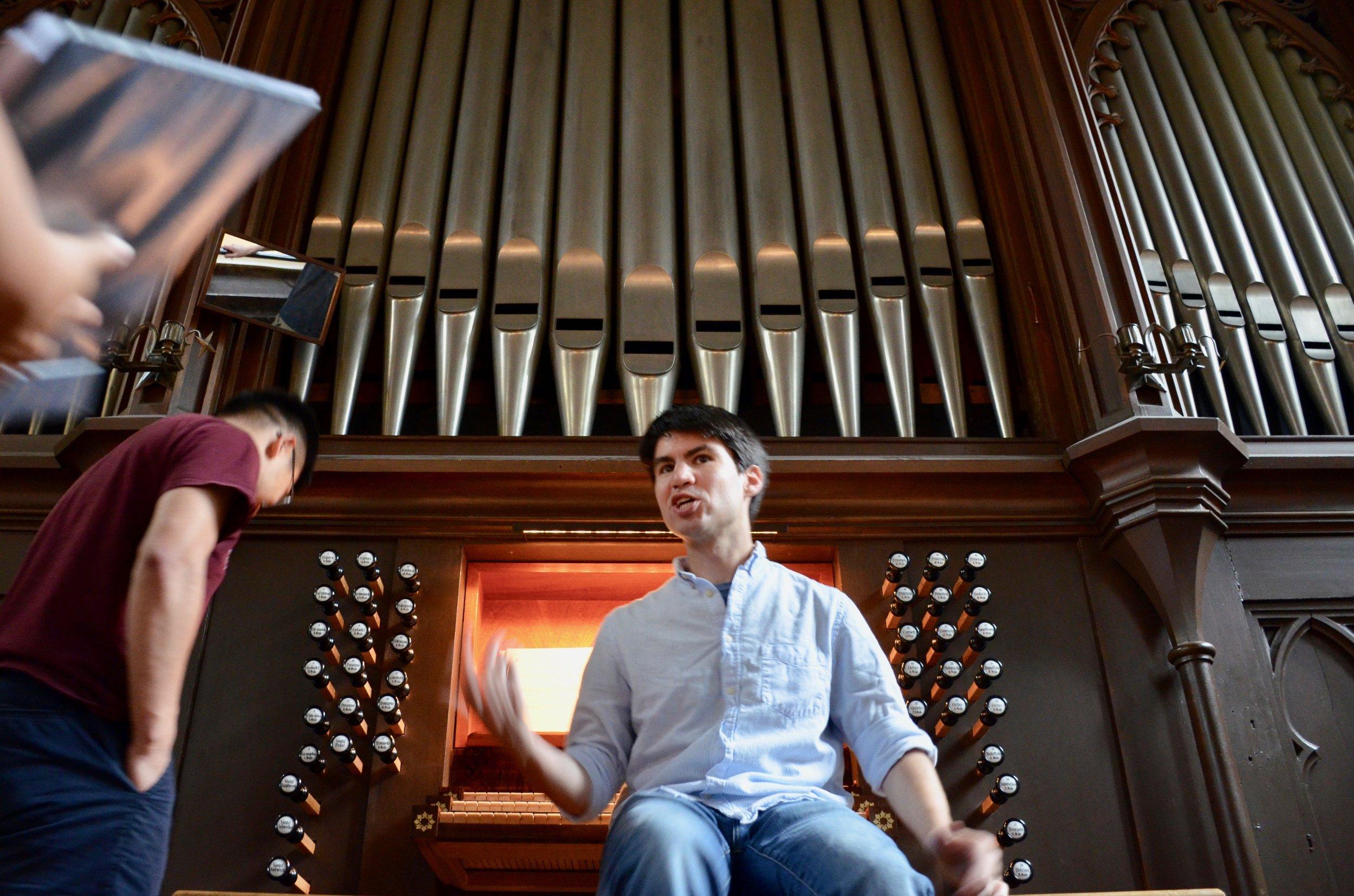 Brandon Santini at the 1861 Marcussen organ in Haga Church, Göteborg, Sweden.