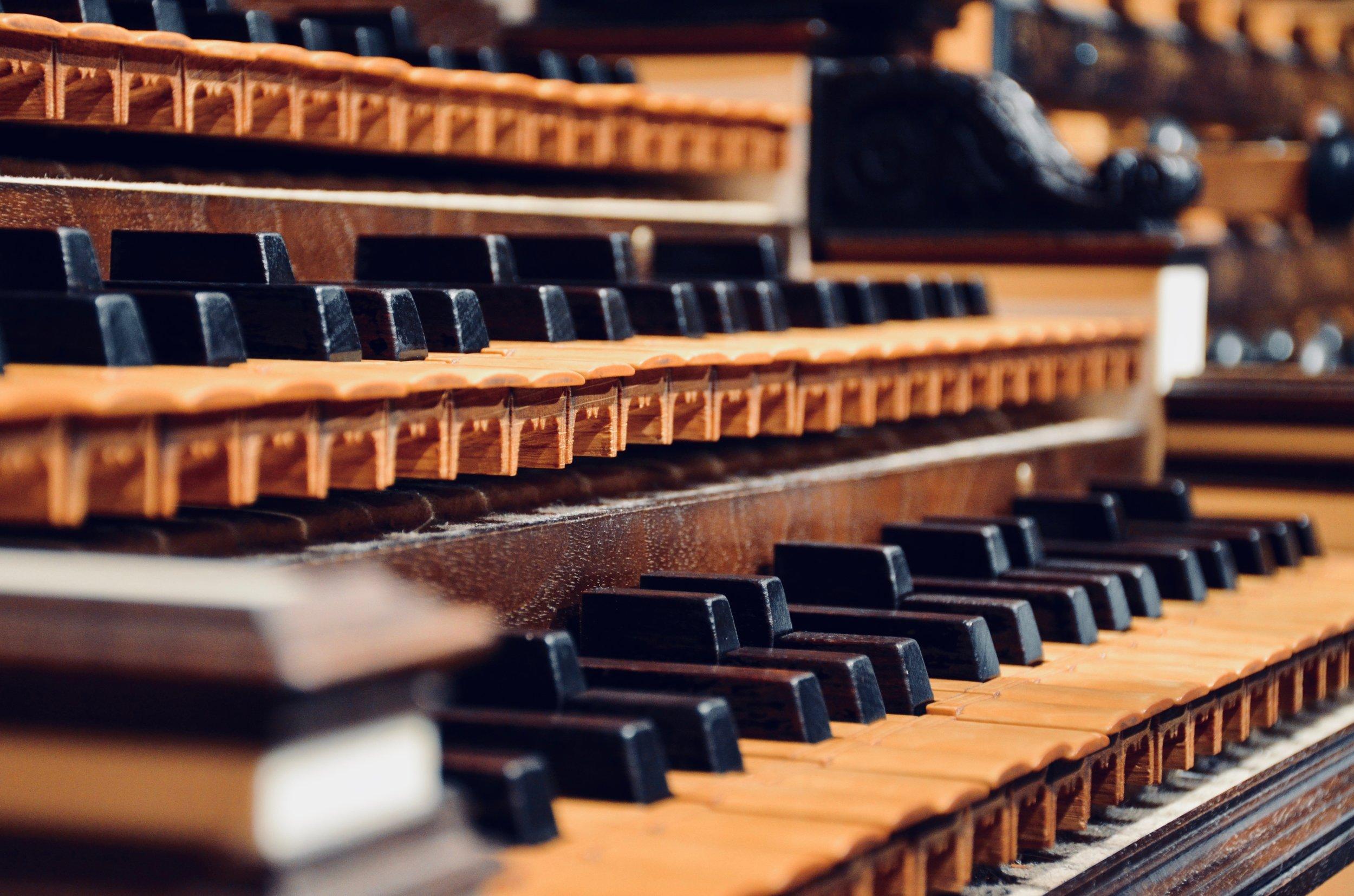 Keydesk detail, with sub-semitones, 2000 North German Baroque organ in Göteborg.