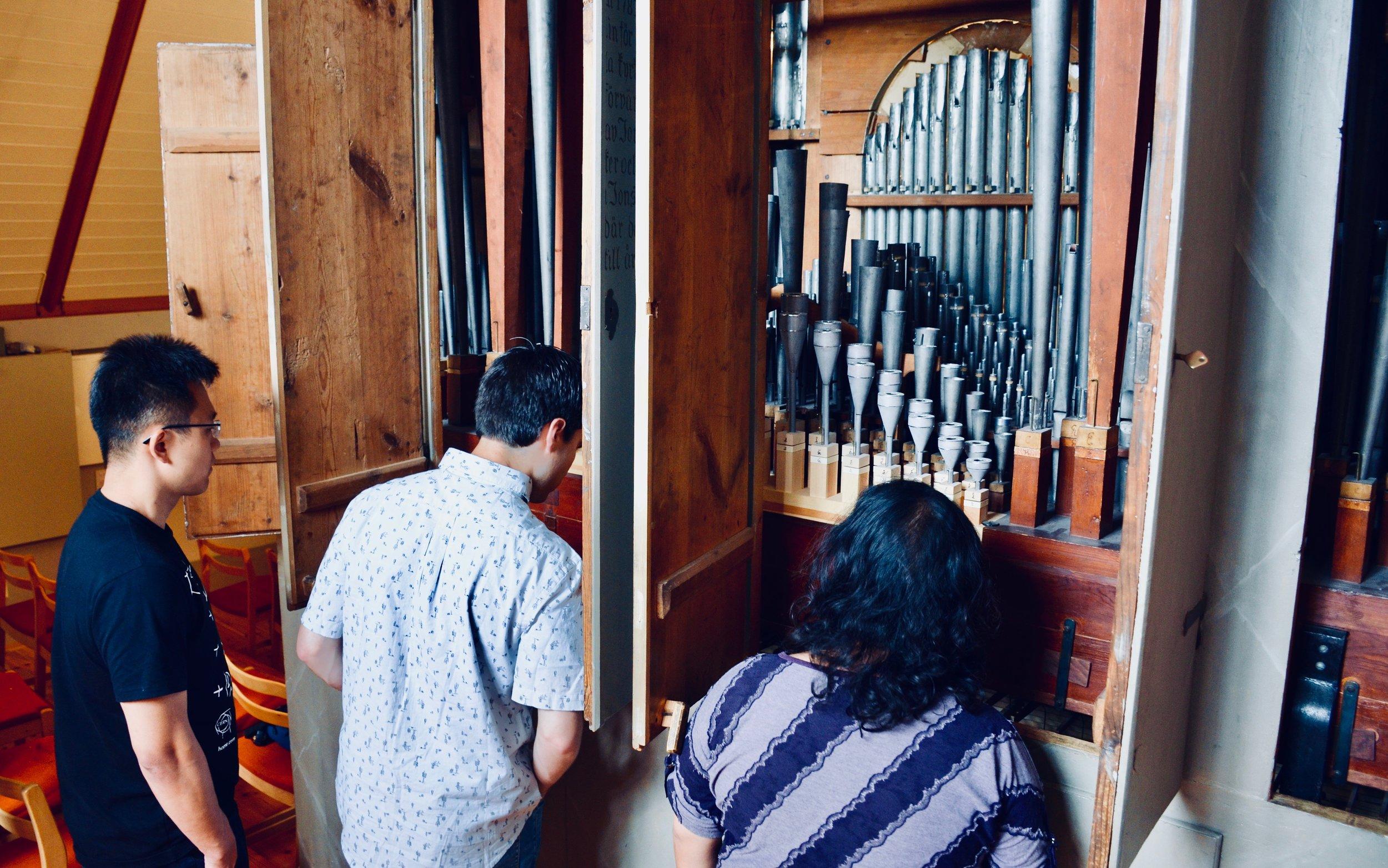 Looking inside the organ case of the 1783 Schiörlin organ in Jonsered, Sweden.