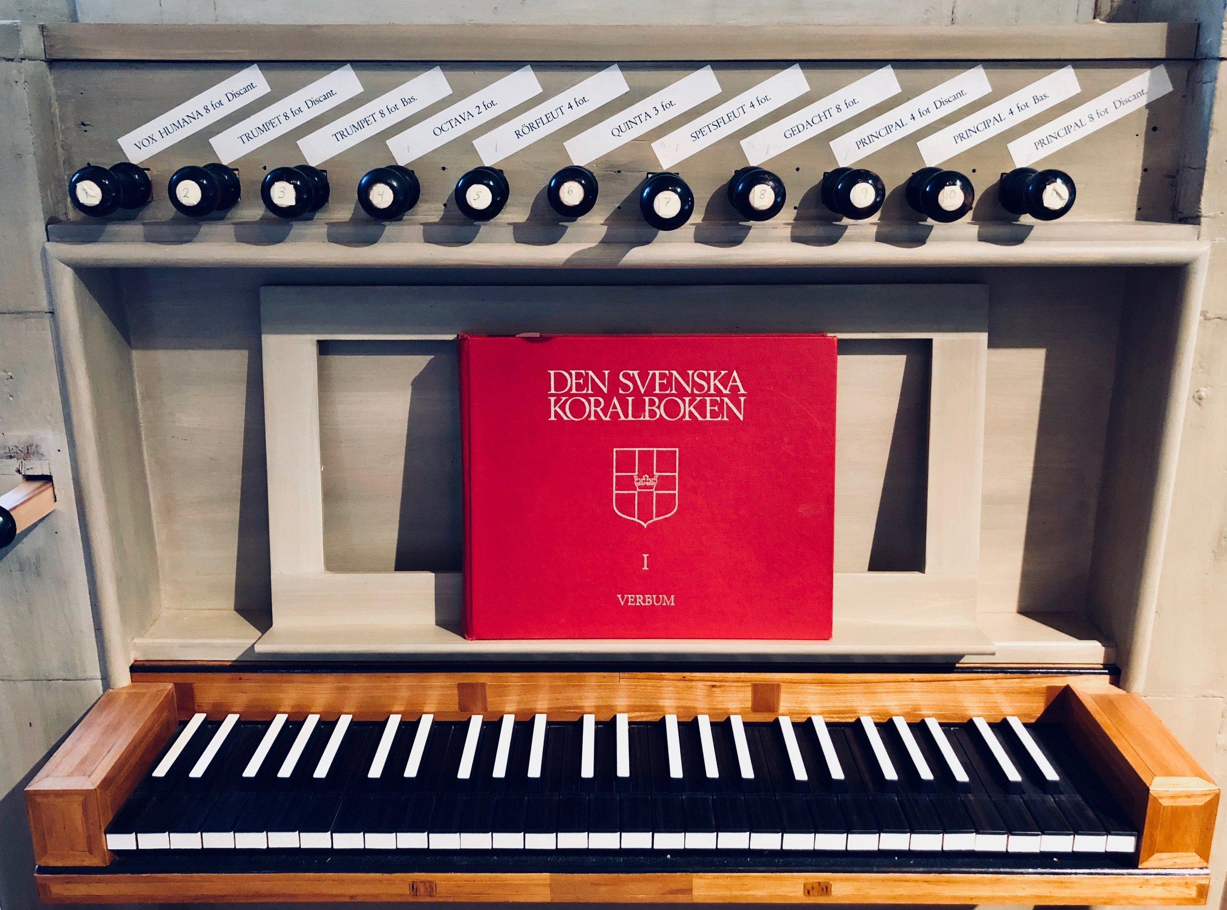 Keydesk, 1783 Schiörlin organ in Jonsered, Sweden.