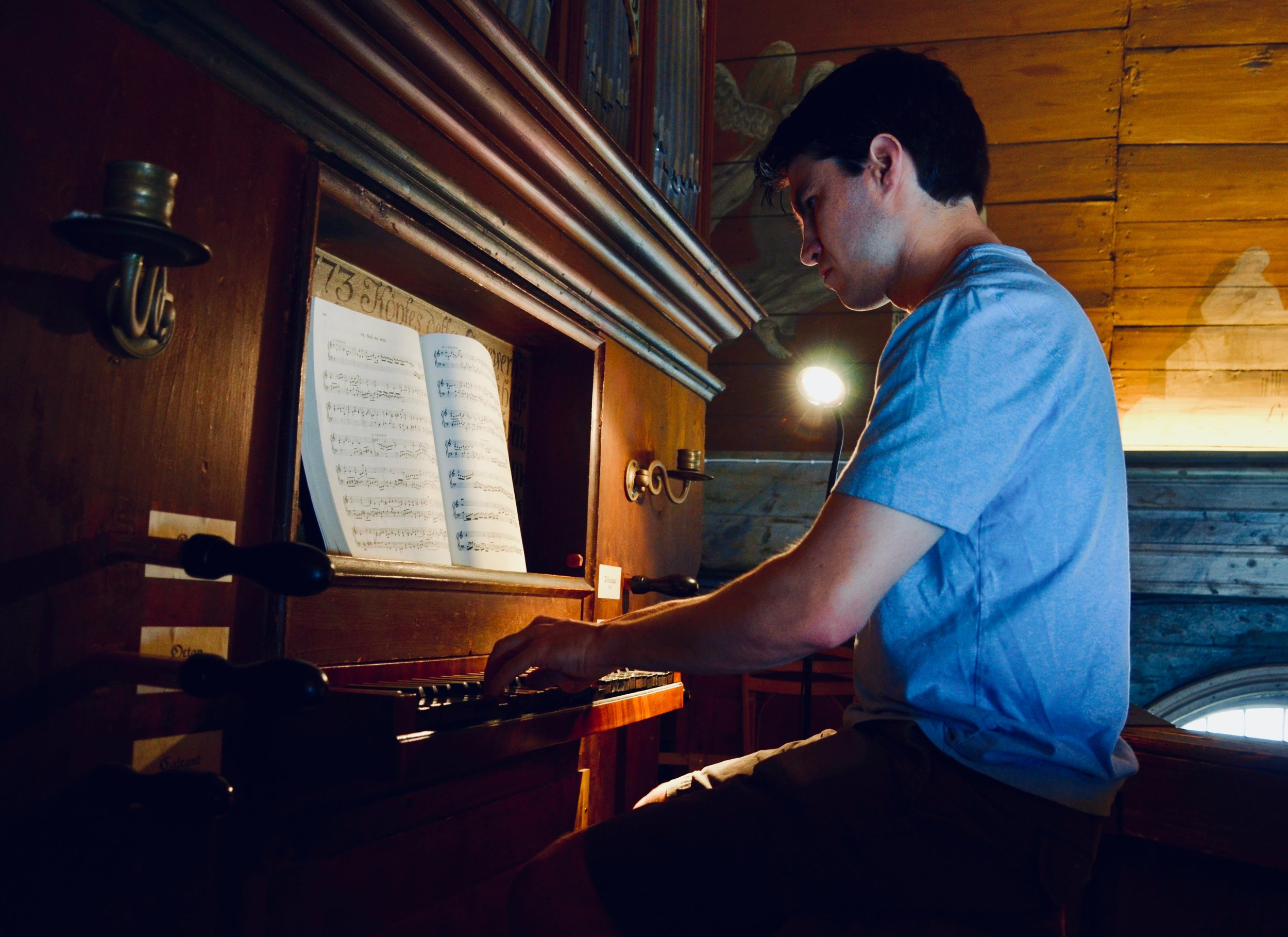 Brandon Santini plays the historic organ in the 1652 chapel, Kulturen, Lund, Sweden.