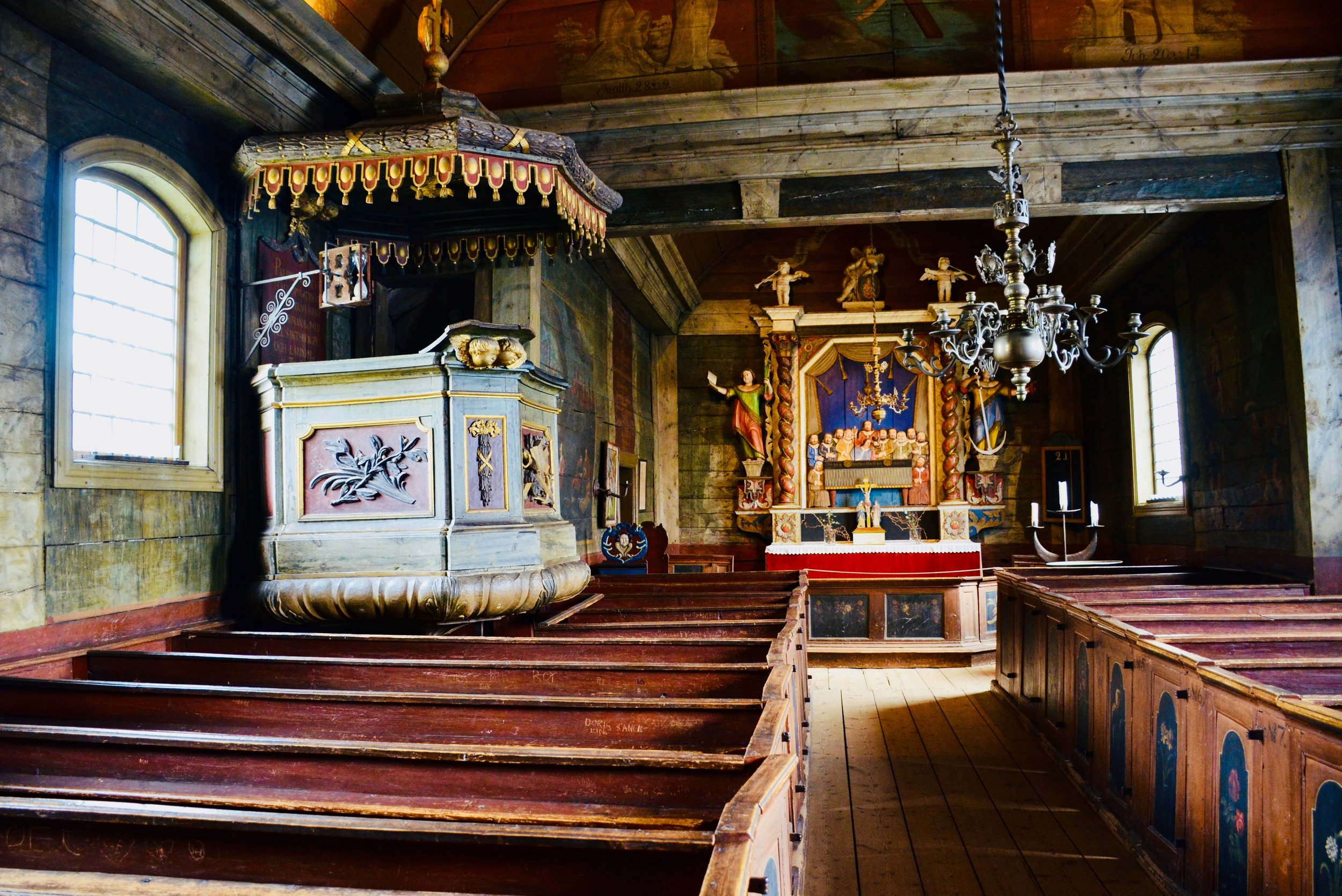 Interior of the 1652 Swedish chapel, Kulturen, Lund, Sweden.