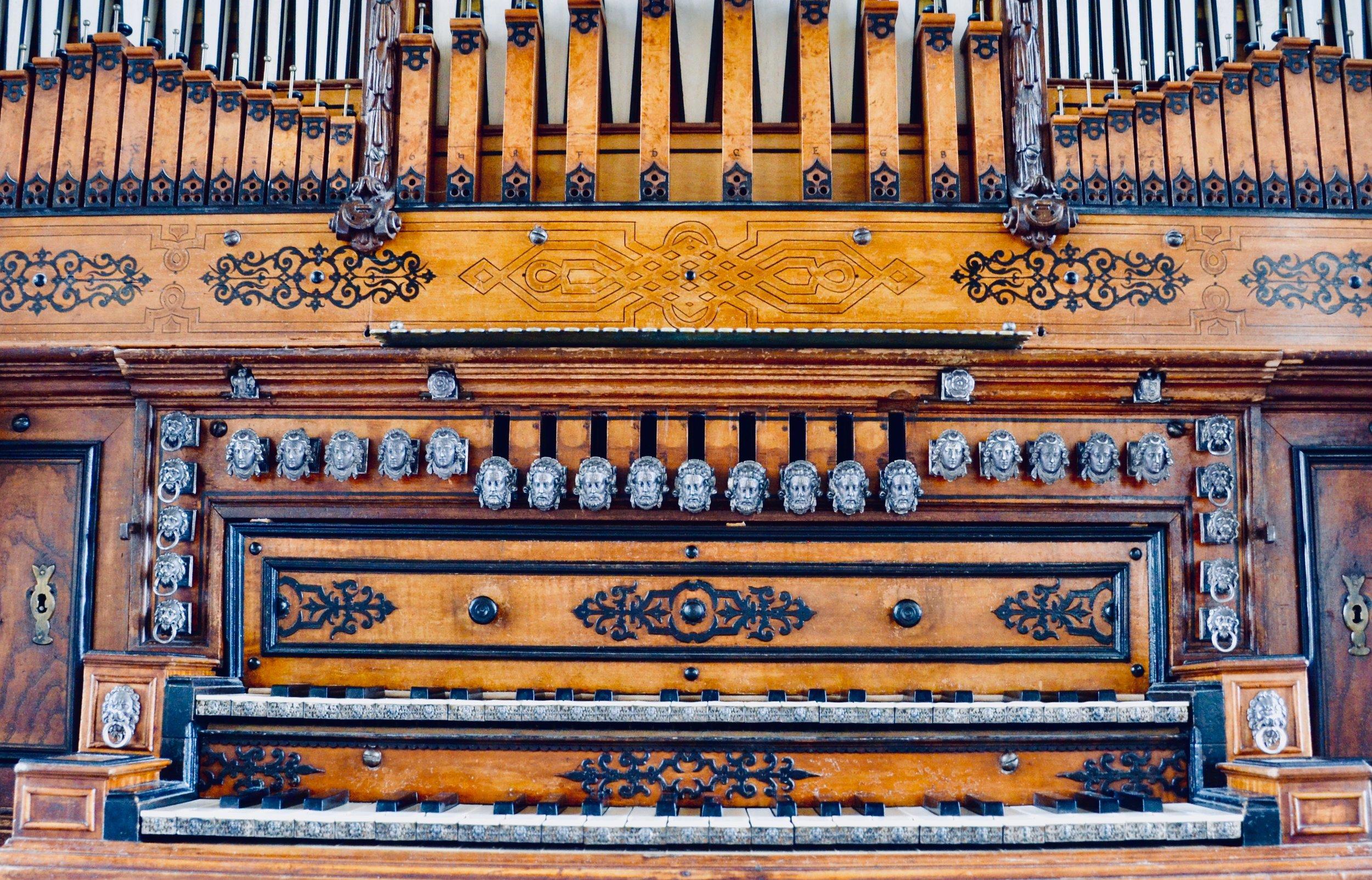 Keydesk detail, 1610 Compenius organ, Frederiksborg Castle, Hillerød, Denmark.