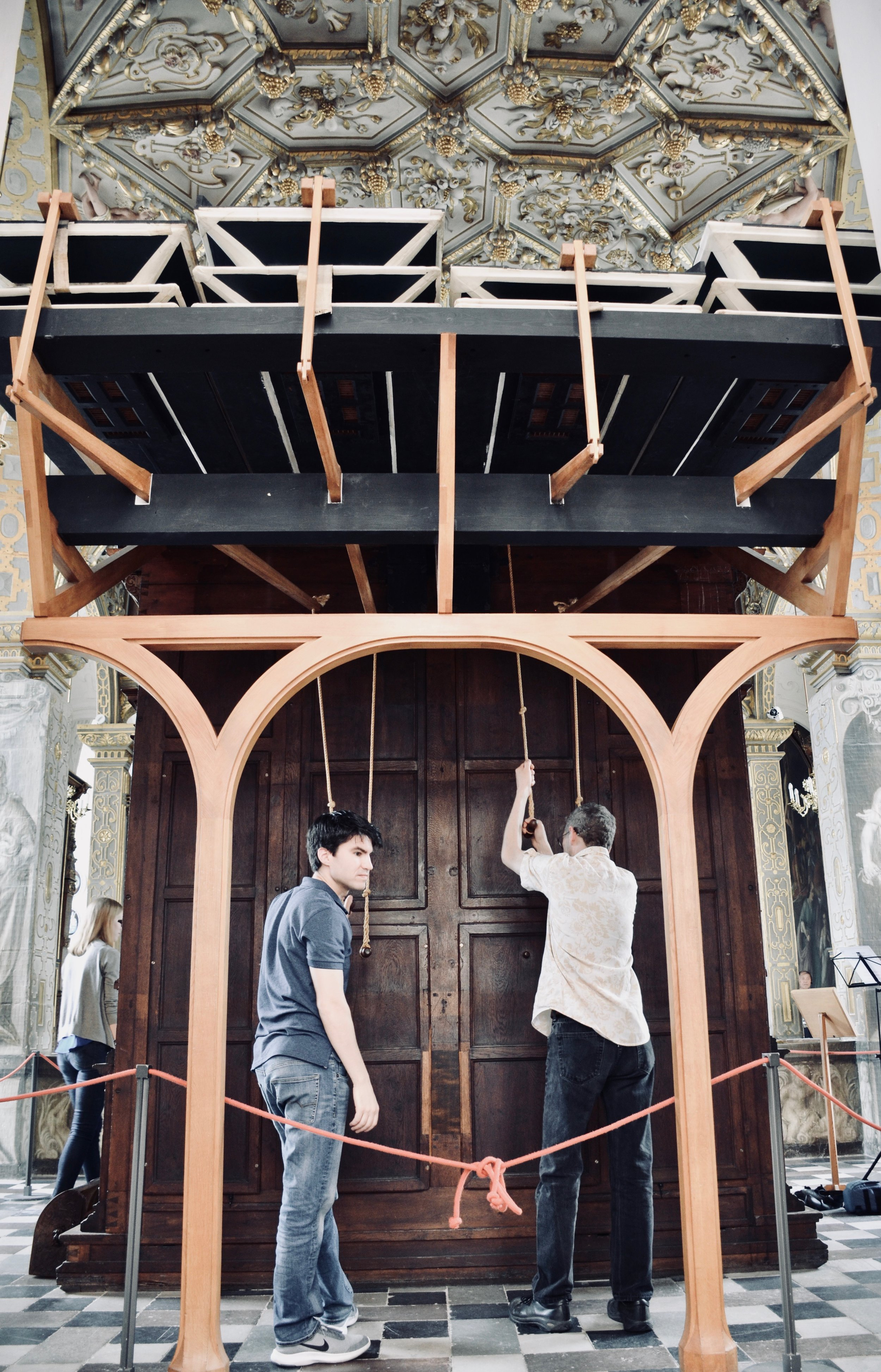 Brandon Santini and Chris Porter pump the bellows, 1610 Compenius organ, Frederiksborg Castle, Hillerød, Denmark.