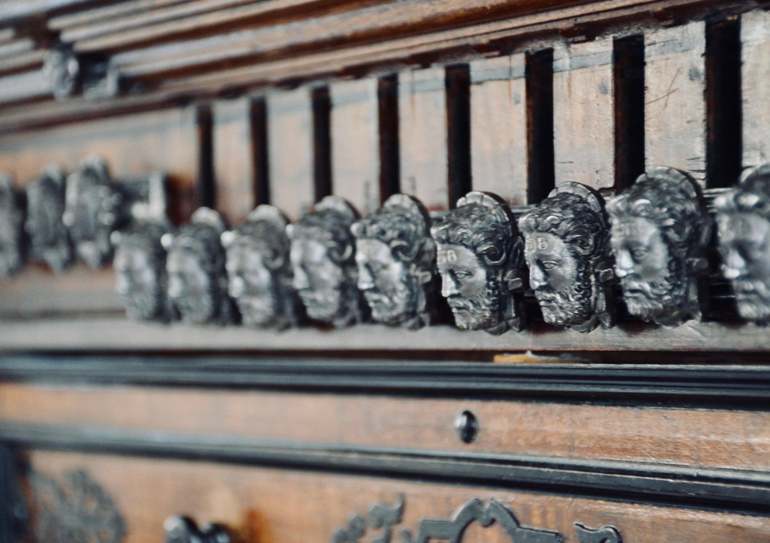 Stopknob detail, 1610 Compenius organ, Frederiksborg Castle, Hillerød, Denmark.