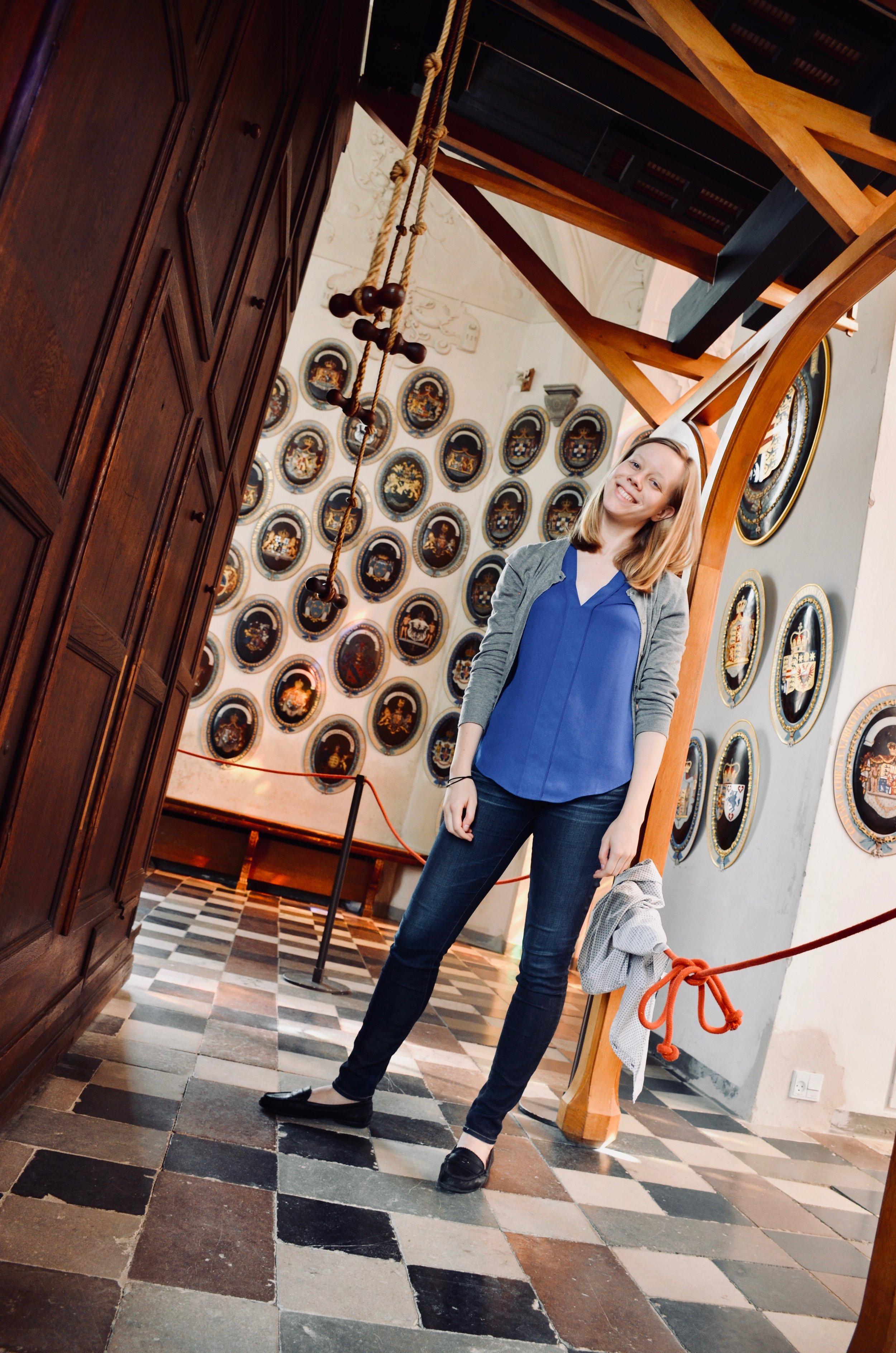 Laura takes a break from pumping the bellows, 1610 Compenius organ, Frederiksborg Castle, Hillerød, Denmark.