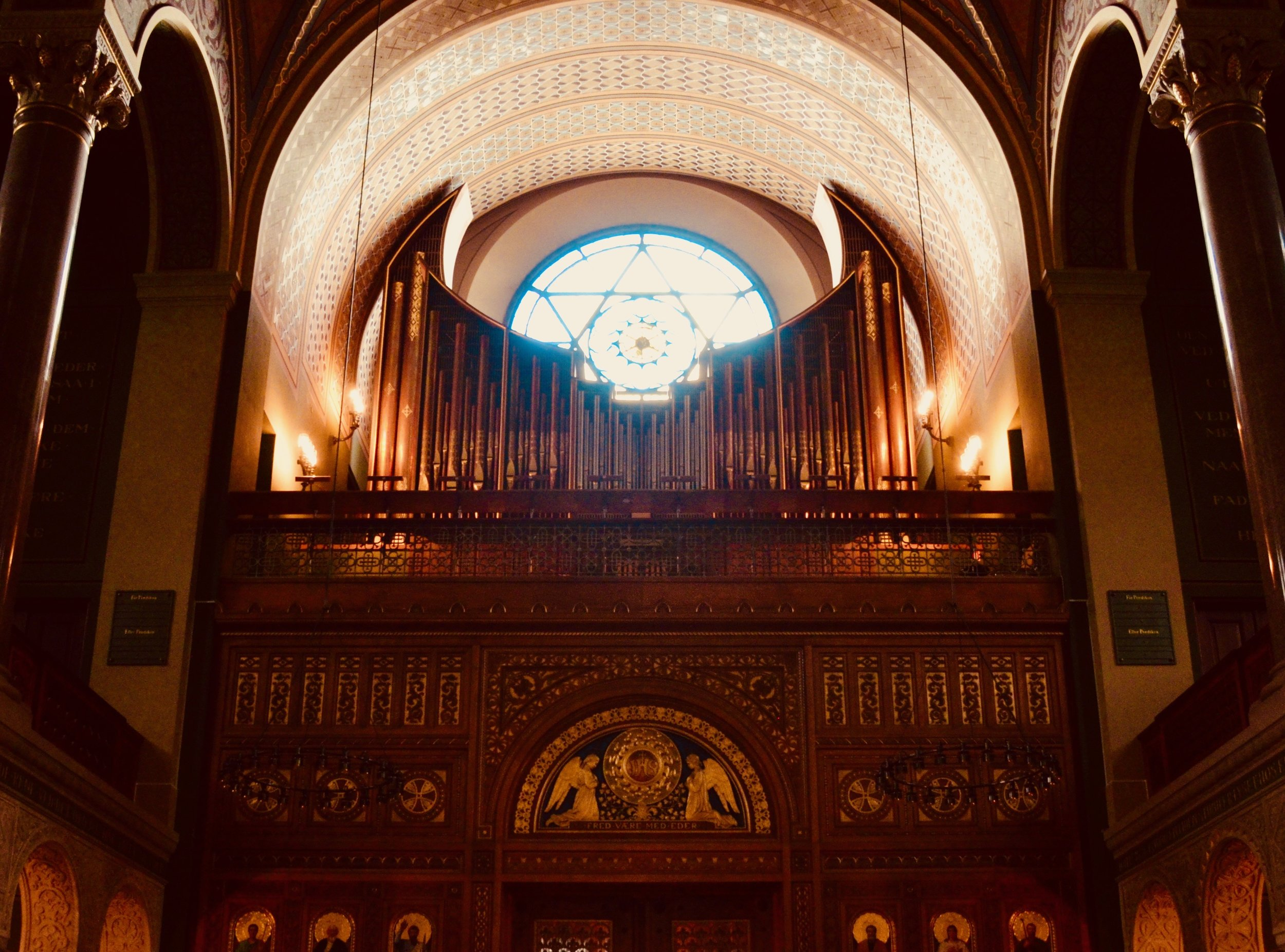 The modern rear-gallery organ in Jesuskirke, Copenhagen.