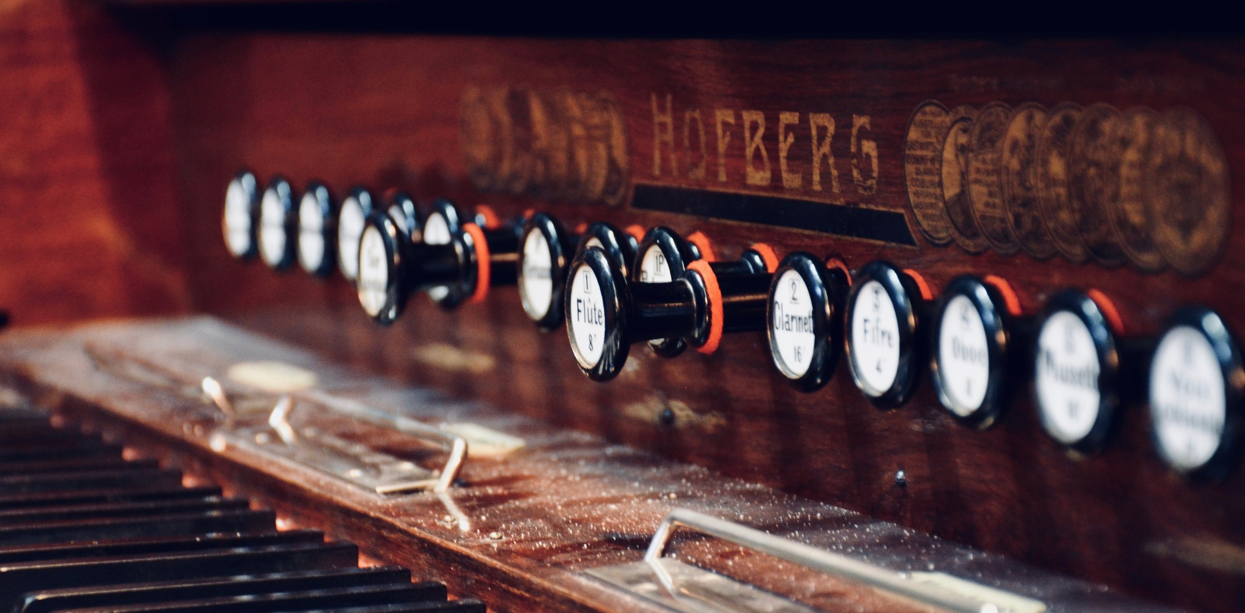 Keydesk detail, harmonium at Jesuskirke, Copenhagen.