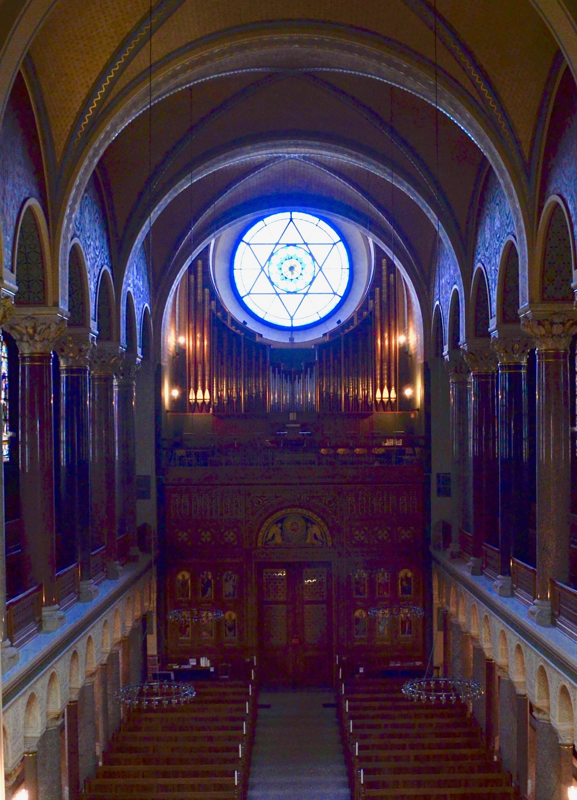 The modern rear-gallery organ, Jesuskirke, Copenhagen.