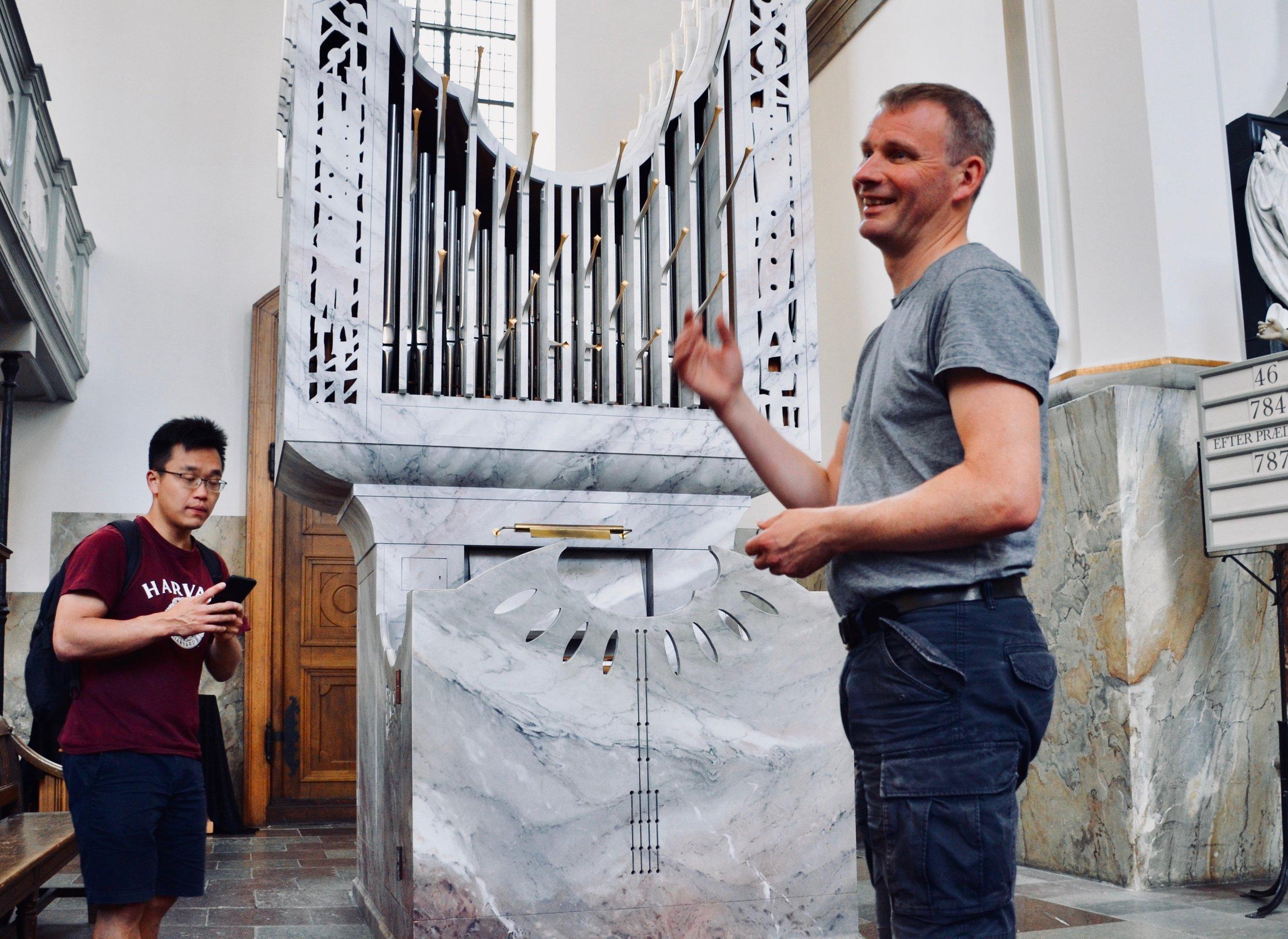 Søren Christian Vestergaard introduces members of Boston Organ Studio to modern choir organ in Trinitatis Kirke, Copenhagen.