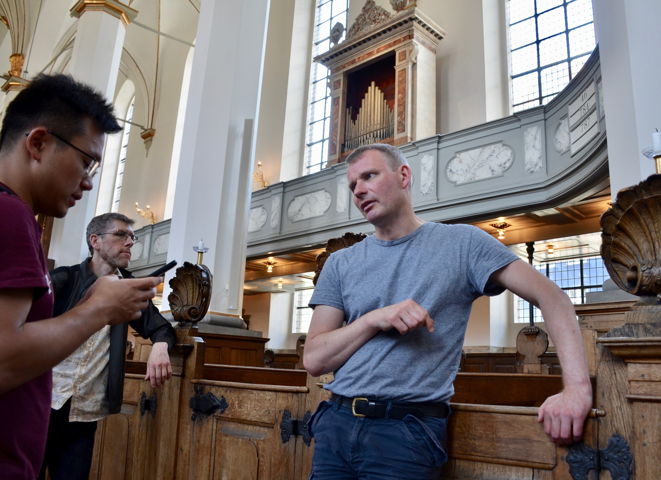 Søren Christian Vestergaard introduces members of Boston Organ Studio to the instruments of Trinitatis Kirke, Copenhagen.