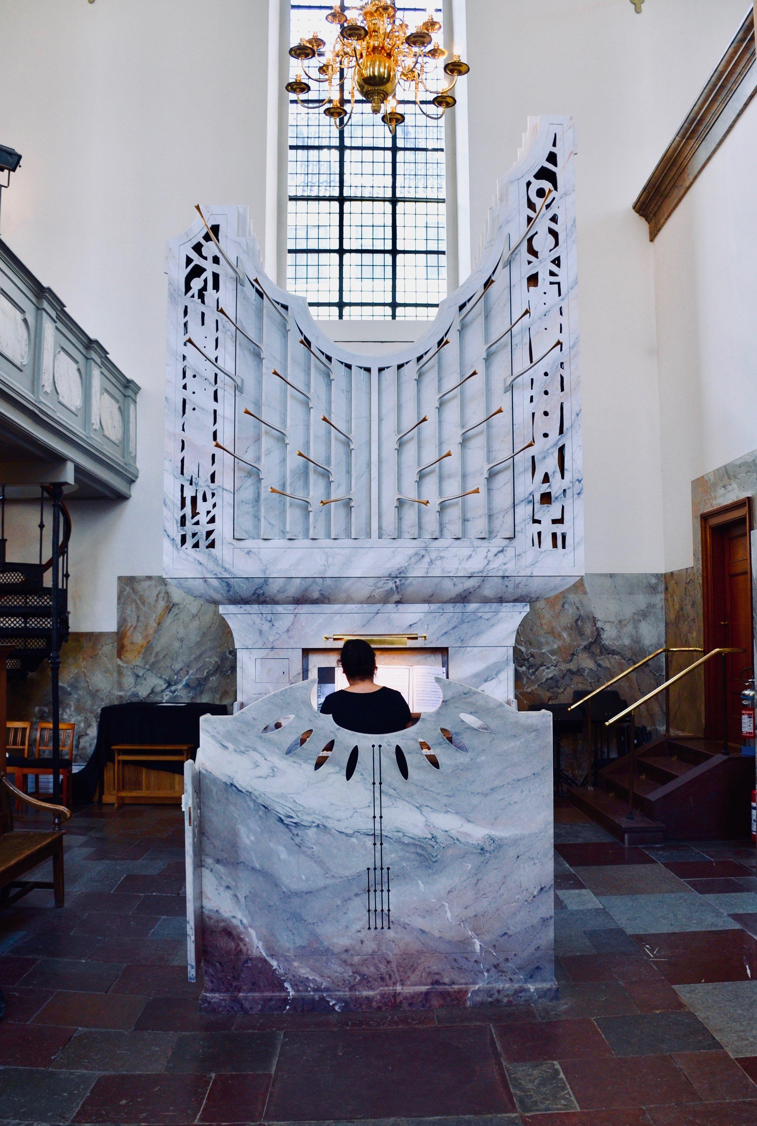 The modern choir organ of Trinitatis Kirke, Copenhagen.