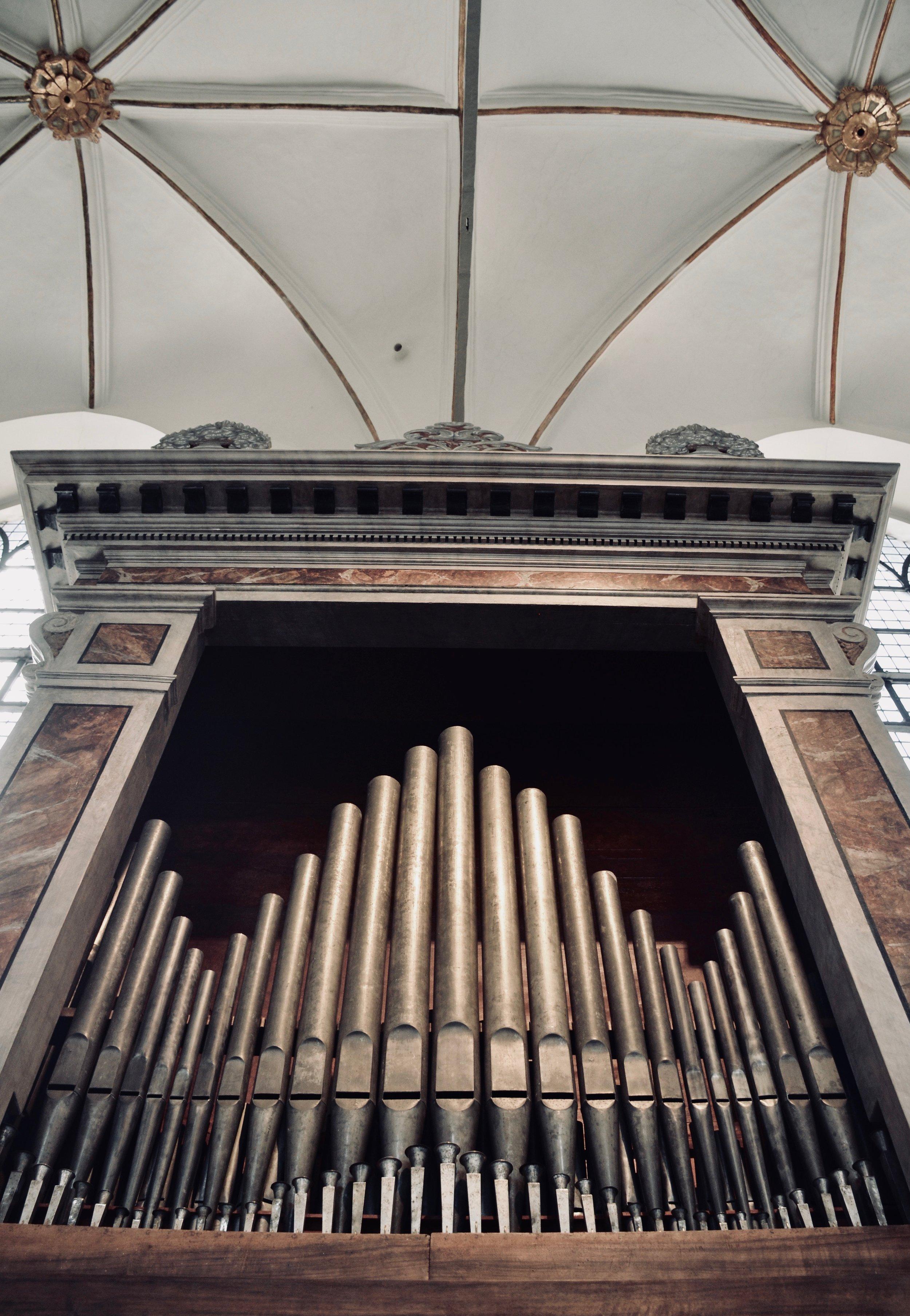 The Italian baroque organ in Trinitatis Kirke, Copenhagen.