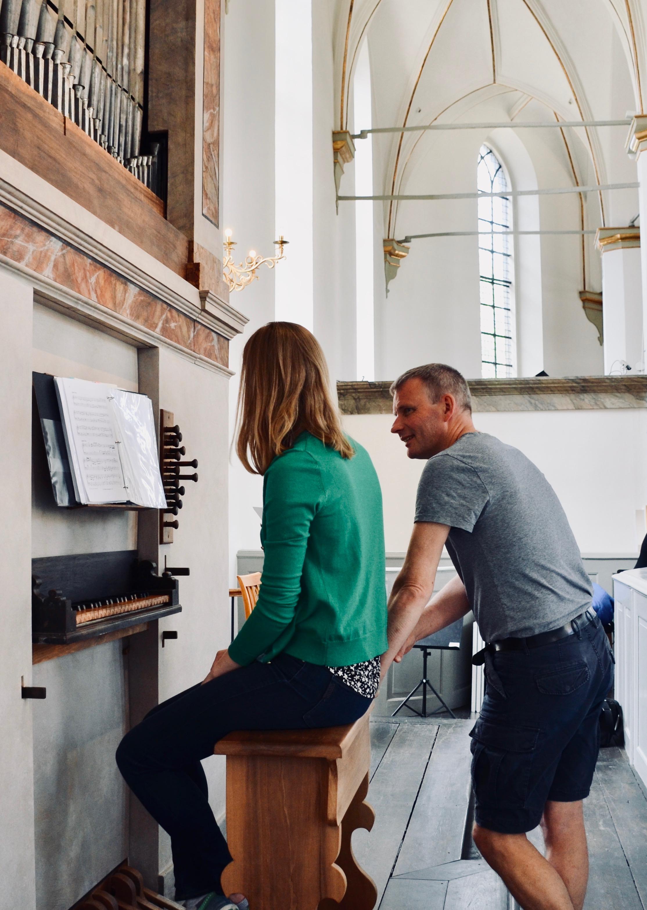 Søren Christian Vestergaard assists Laura Gullett at the Italian Baroque organ, Trinitatis Kirke, Copenhagen.