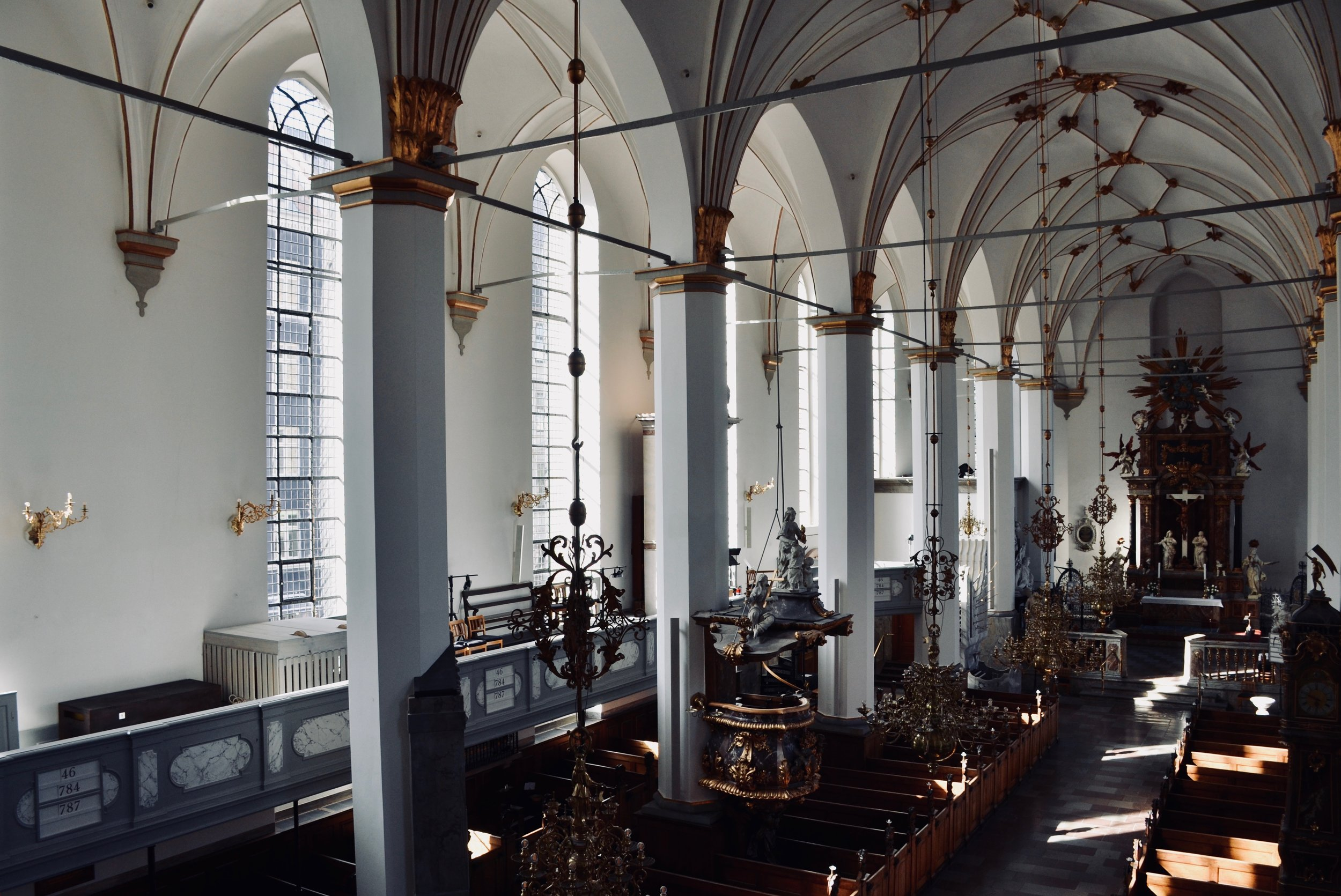 The nave of Trinitatis Kirke, Copenhagen.
