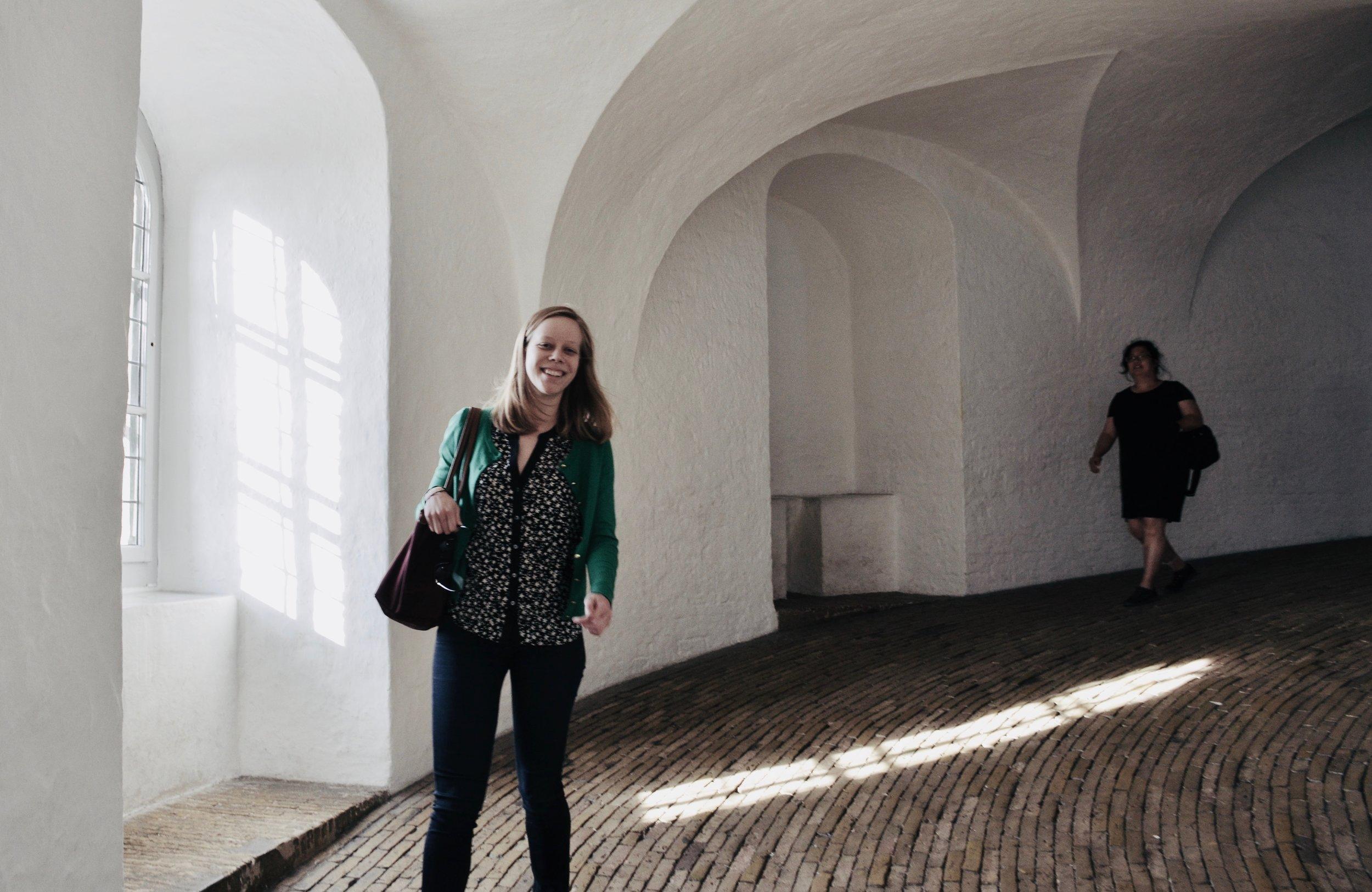 Descending the tower ramp at Trinitatis Kirke, Copenhagen, following an inspiring final day.