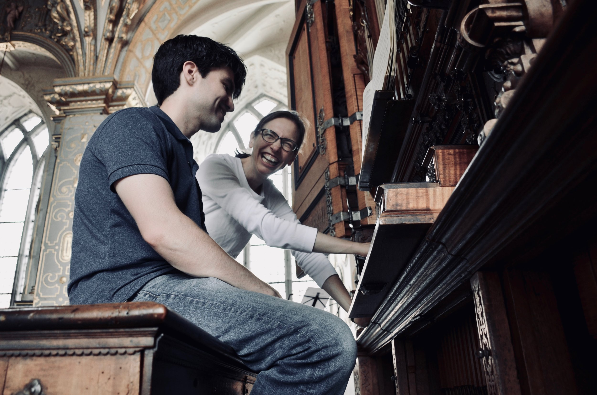 Bine Bryndorf coaches student Brandon Santini on the 1610 Compenius organ of Frederiksborg Castle, Hillerød, Denmark, 2018.