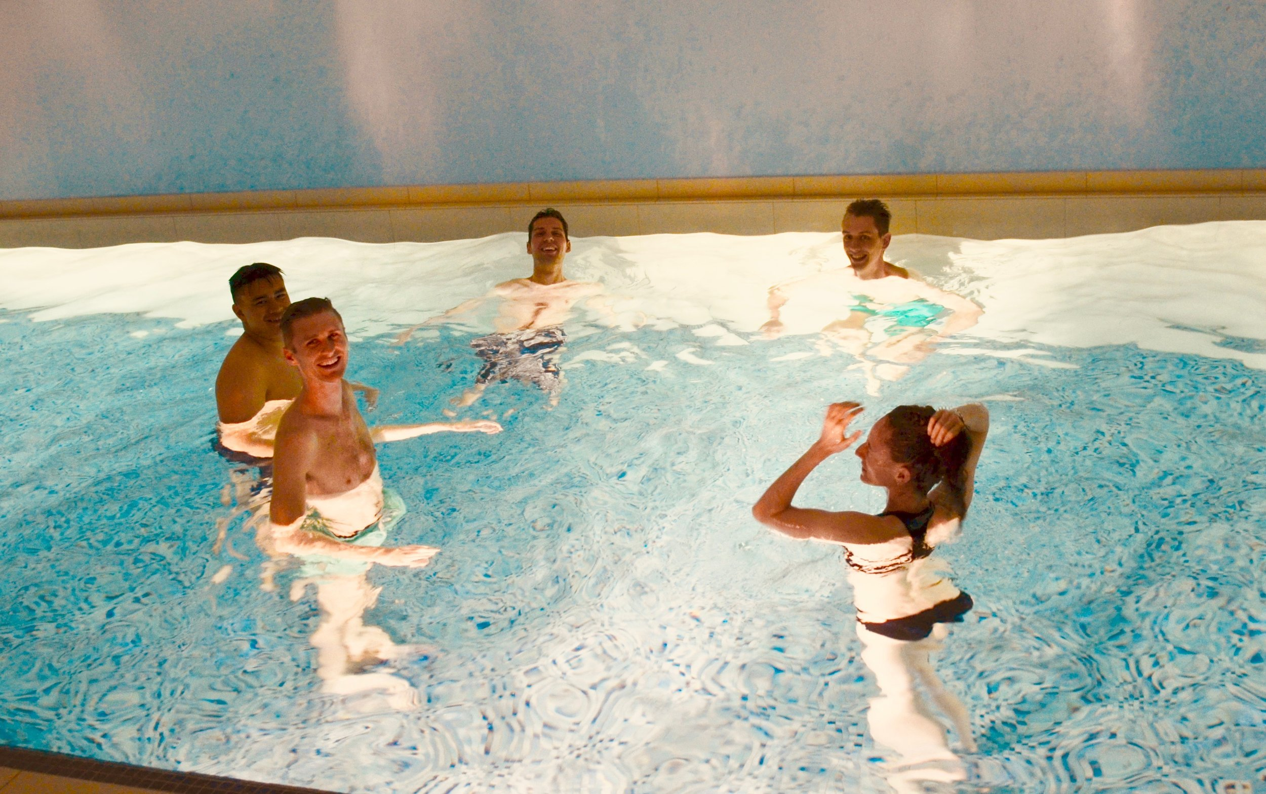 The group enjoying our indoor pool.