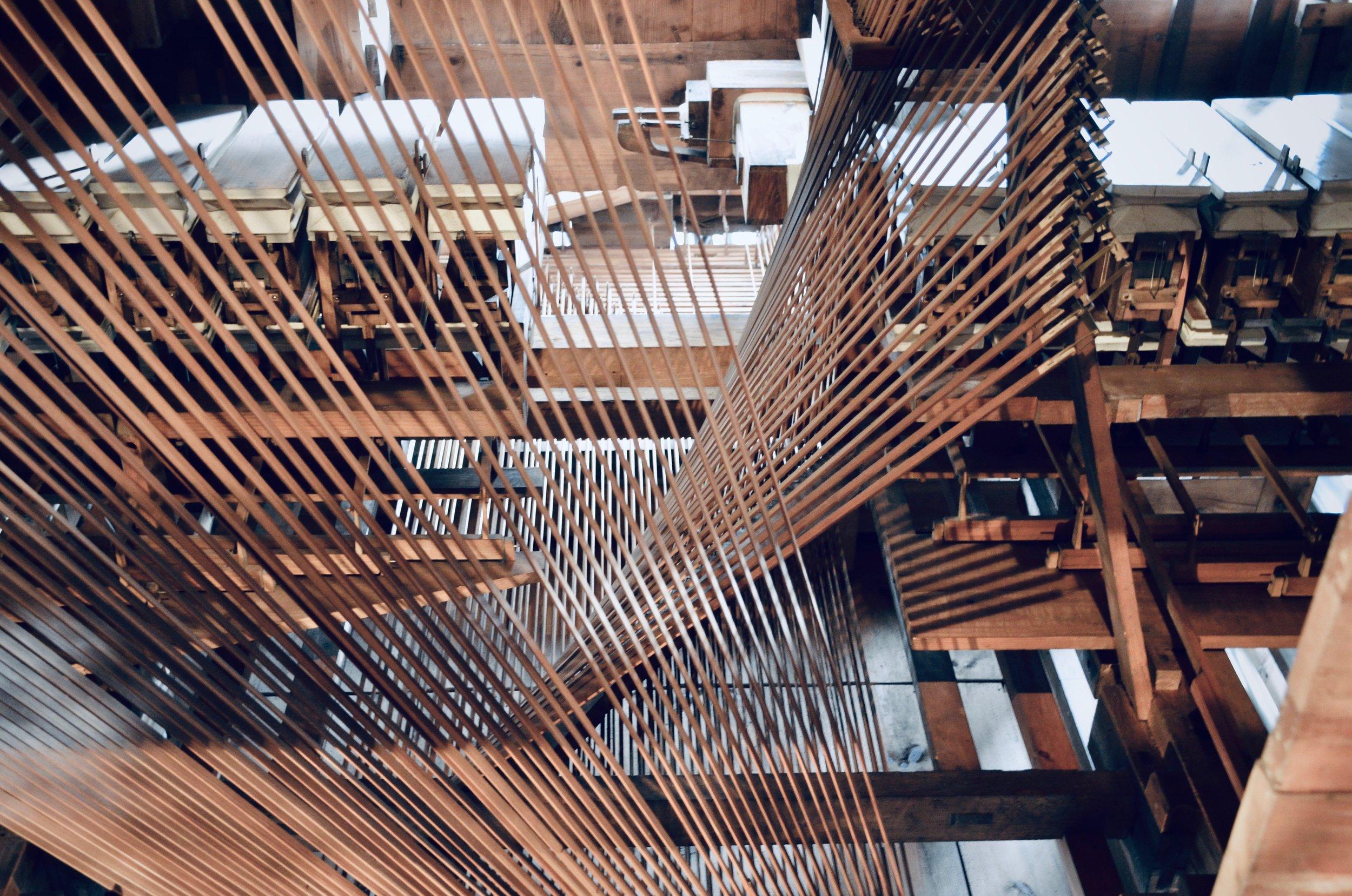 Mechanical detail, 1871 Ladegast Organ, Schwerin Dom. Boston Organ Studio.