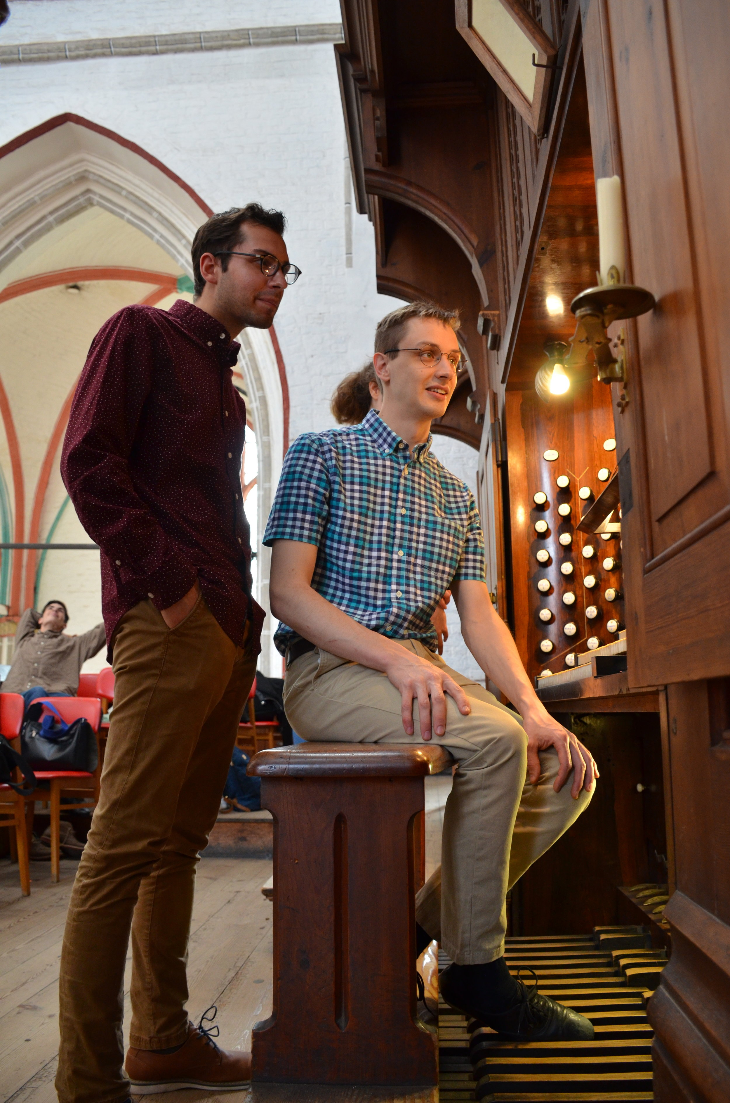 Alex Ross and Nick Capozzoli examine features of the 1871 Ladegast Organ, Schwerin Dom. Boston Organ Studio.